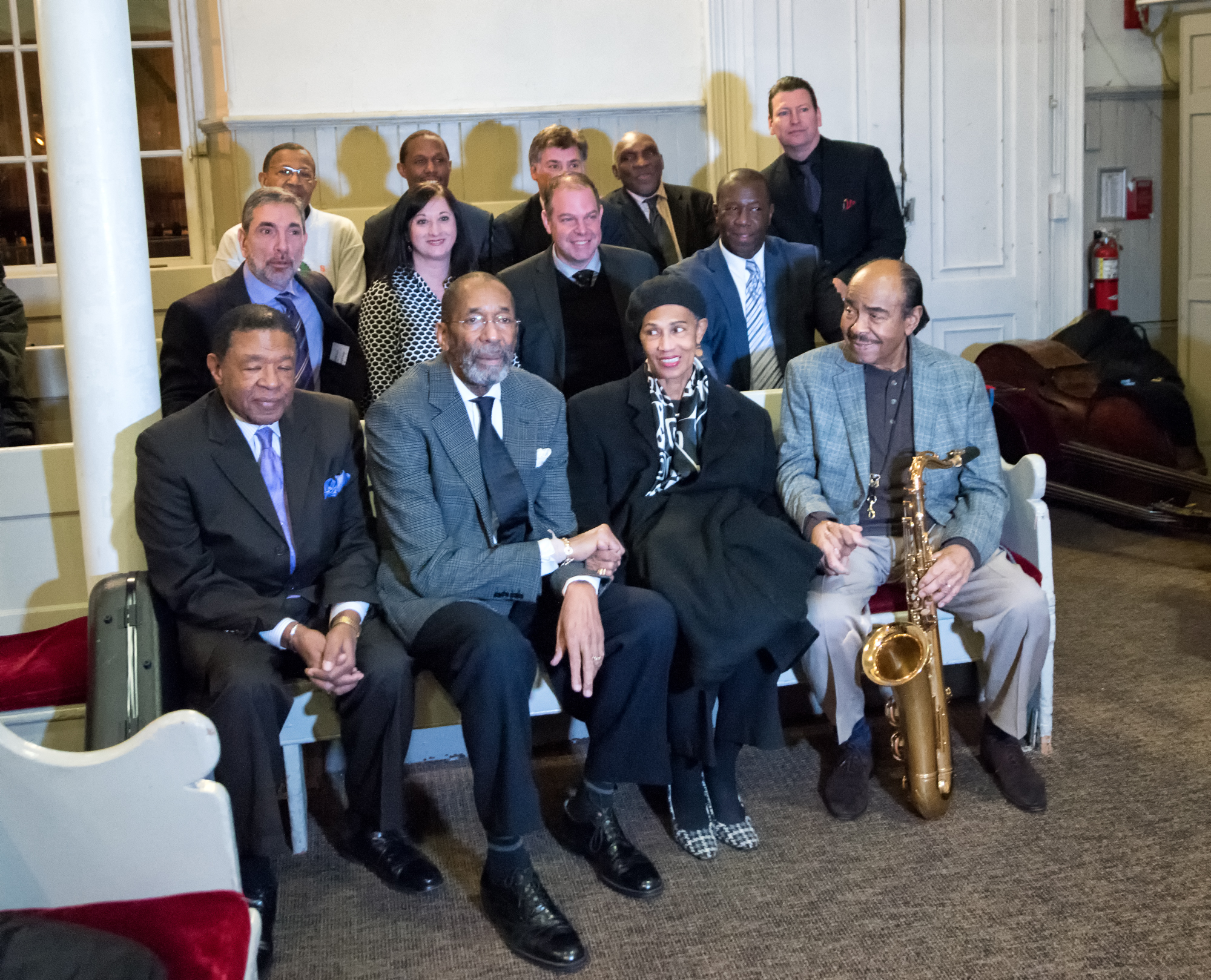 Buster Williams, Ron Carter, Benny Golson, Kenny Washington, Bill Charlap, Renee Rosnes, Mike Ledonne, John Webber, Harold Mabern, Peter Bernstein and Bob Cranshaw at Jazz Legends Play for Disability Pride at Nyc Winter Jazzfest 2015