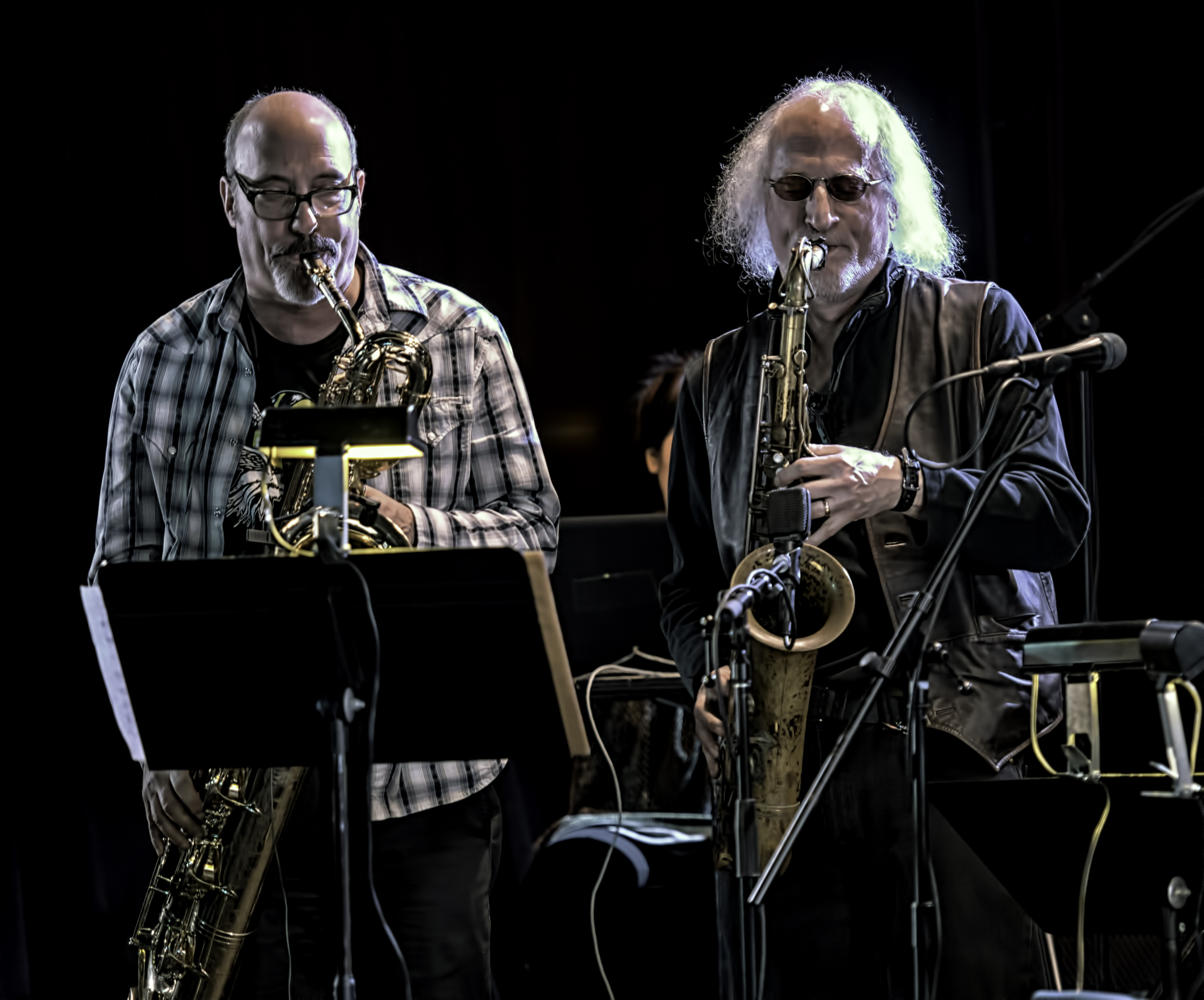 Jon Raskin and Larry Ochs with Rova's Electric Ascension at the NYC Winter Jazzfest 2016