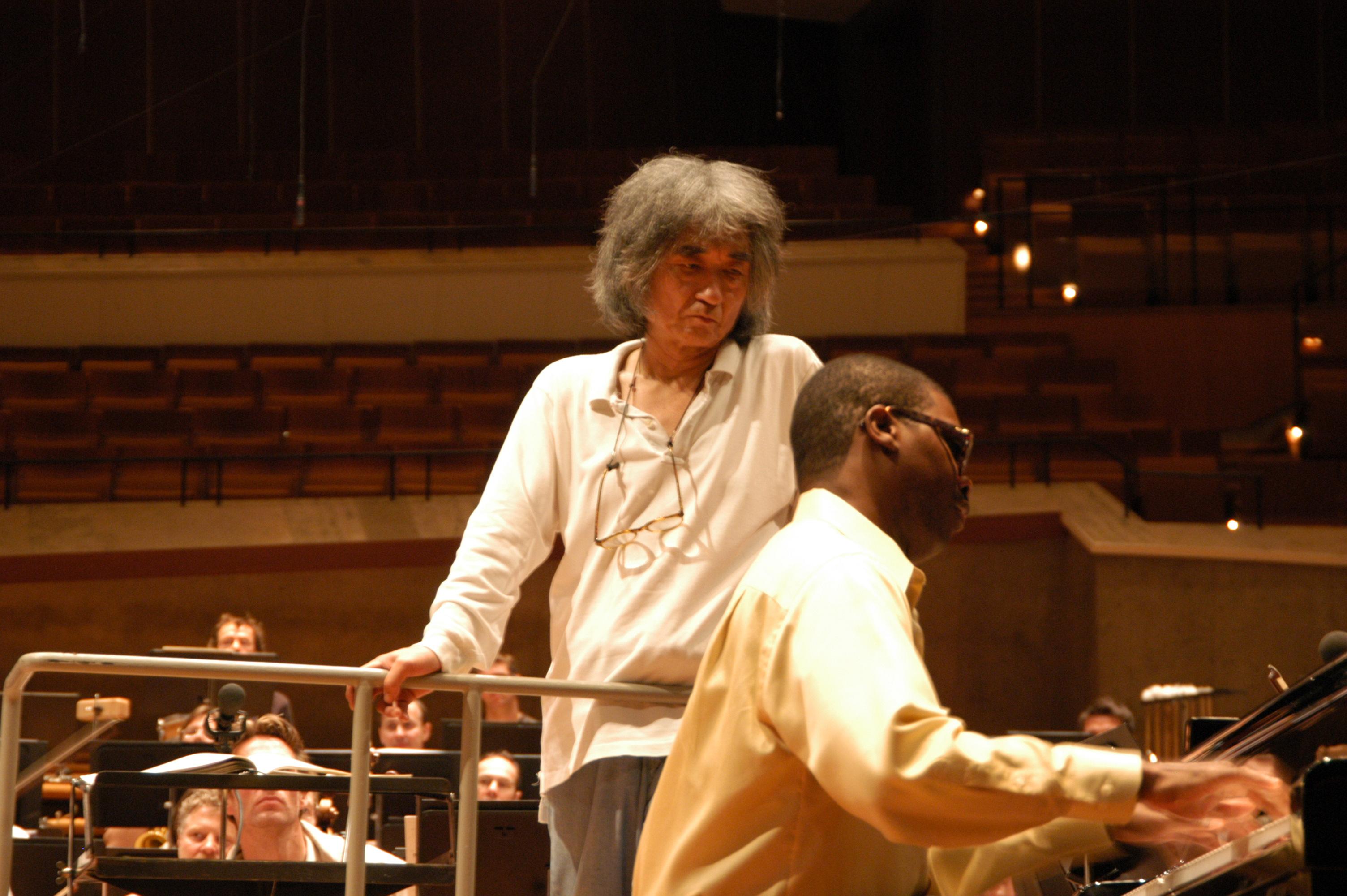 Marcus roberts in rehearsal with seiji ozawa