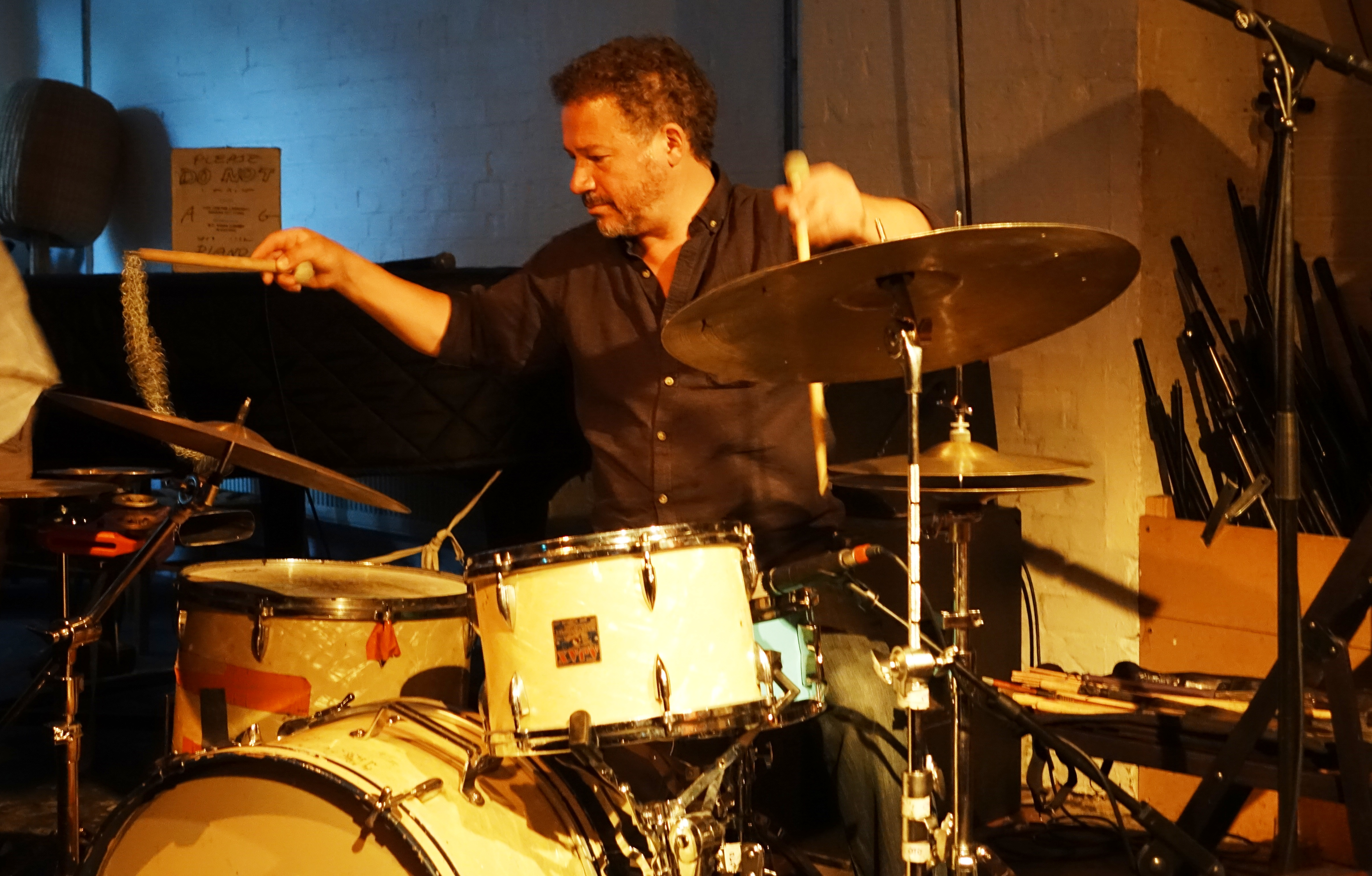 Mark Sanders at Cafe Oto, London in August 2018