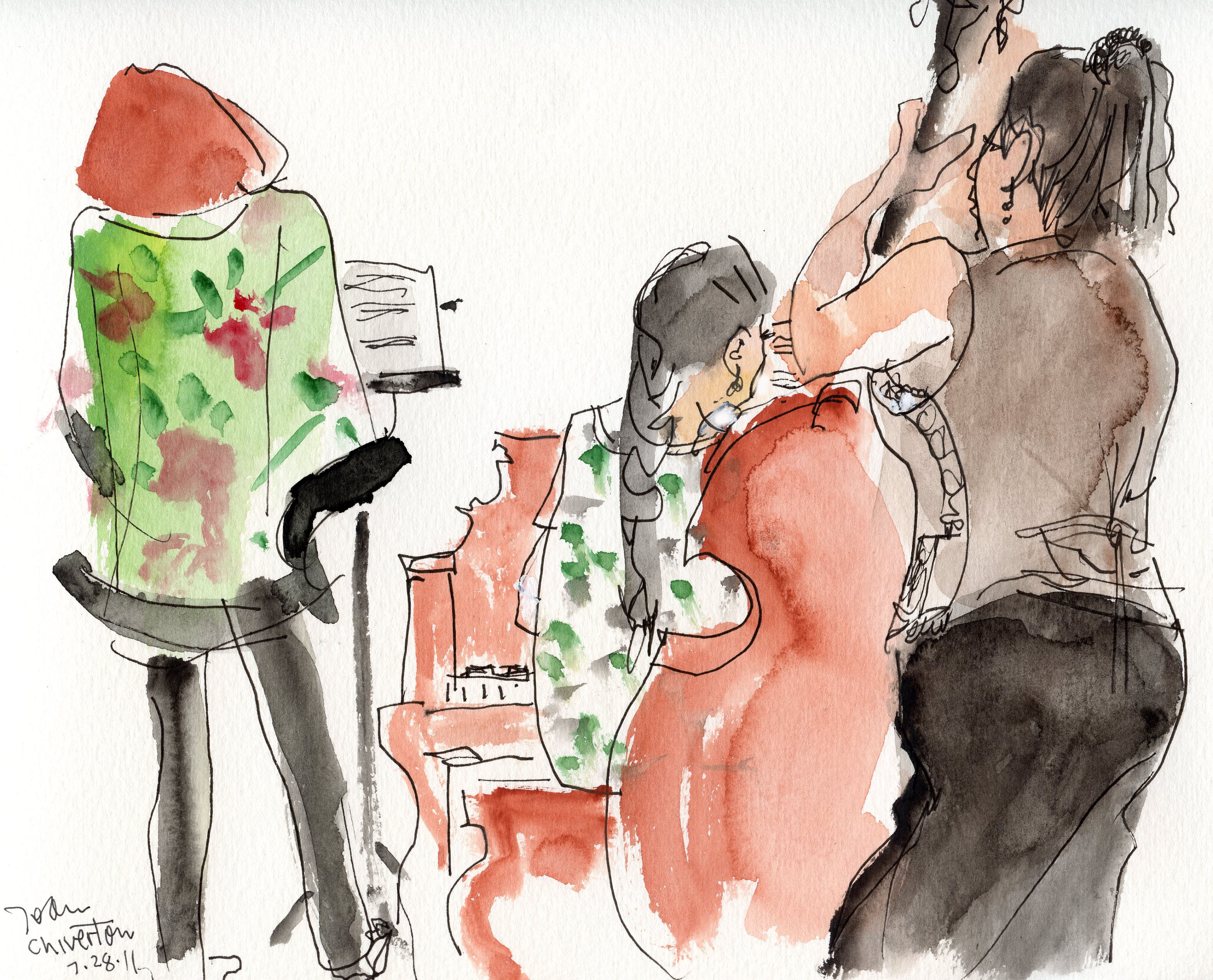 Manuela Lechler, Kyoko Oyobe, Debbie Kennedy Performing Sketch Night. Art by Joann Chiverton