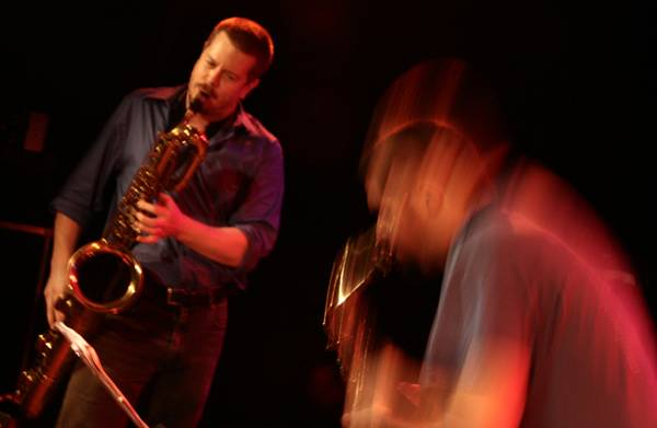 "Ken Vandermark and Dave Rempis with ""Vandermark 5"" at the Sud Des Alpes, Amr, Geneva, Switzerland, 2005"