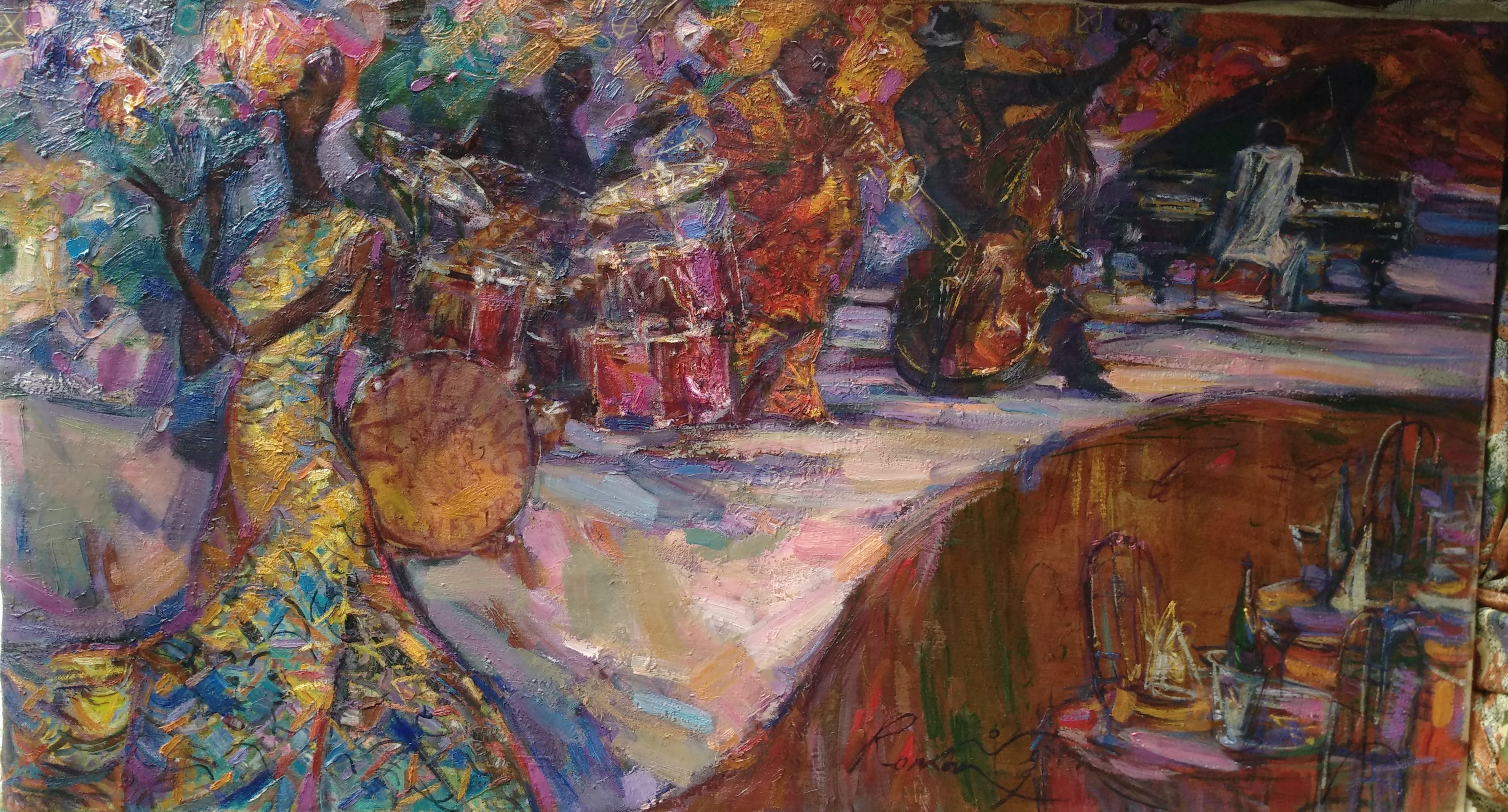 OLD BLUES. FOLLOWERS. oil on canvas, artist ROMAN NOGIN