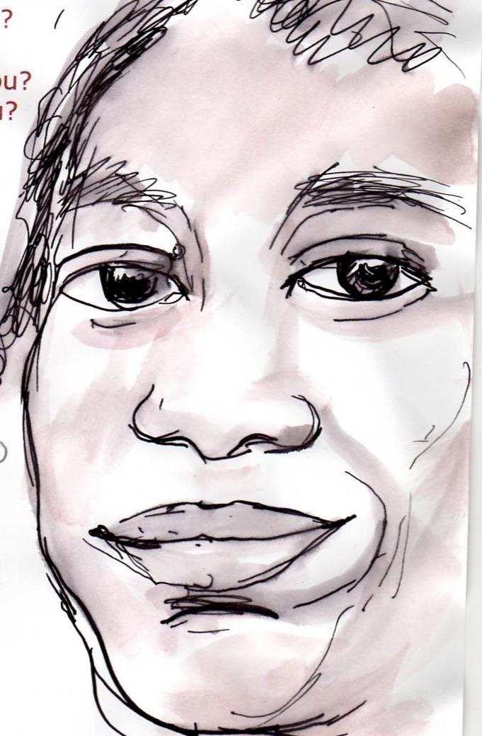 Milton Nascimento Sketch, Flair Pen and Water