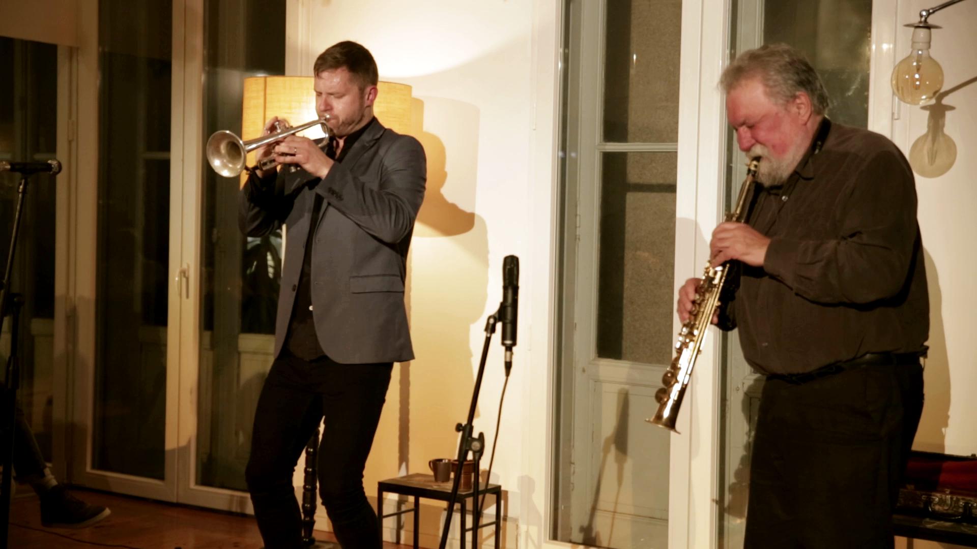 Evan Parker and Peter Evans at Solilóquios in Porto, 2019