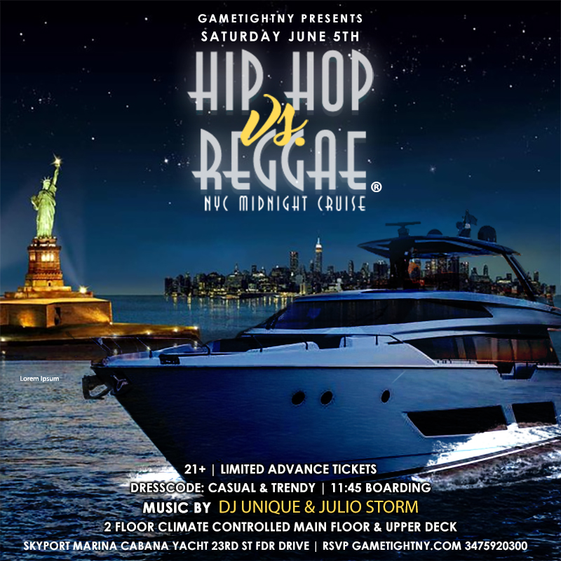 Nyc Summer Midnight Hip Hop Vs Reggae® Cruise Skyport Marina Cabana Yacht