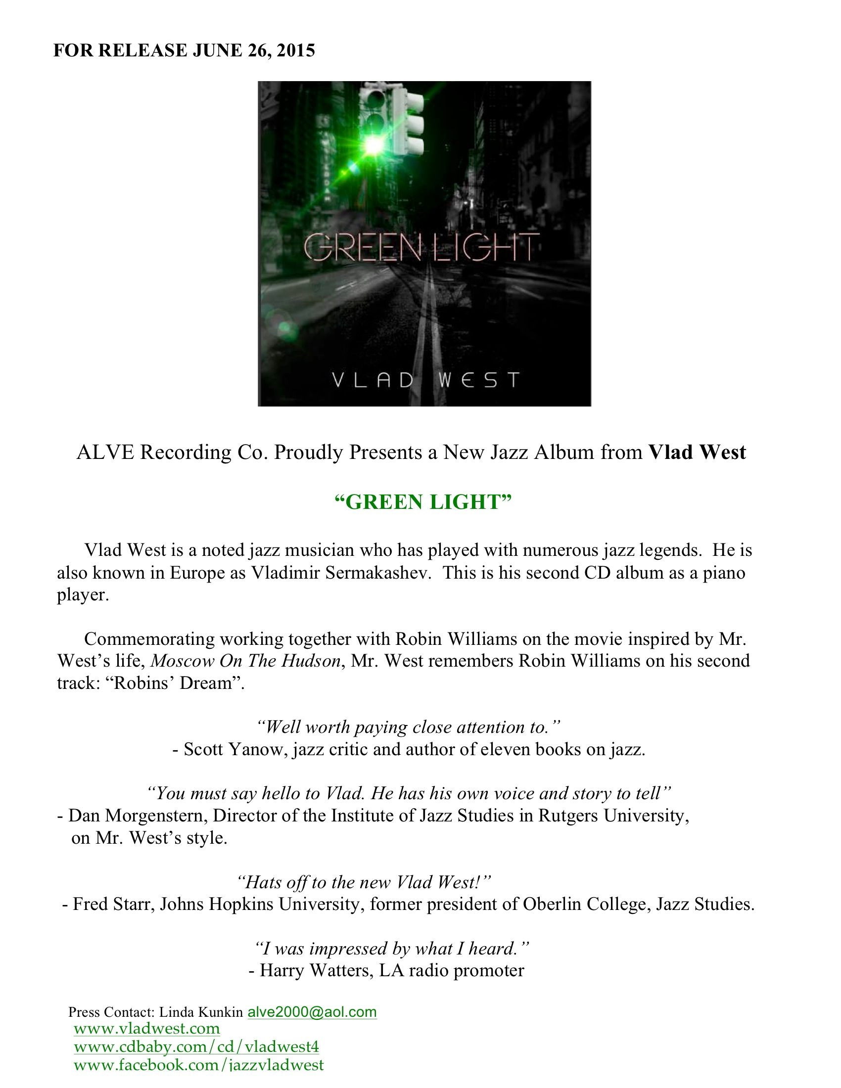 Green Light New Jazz cd by Vlad West