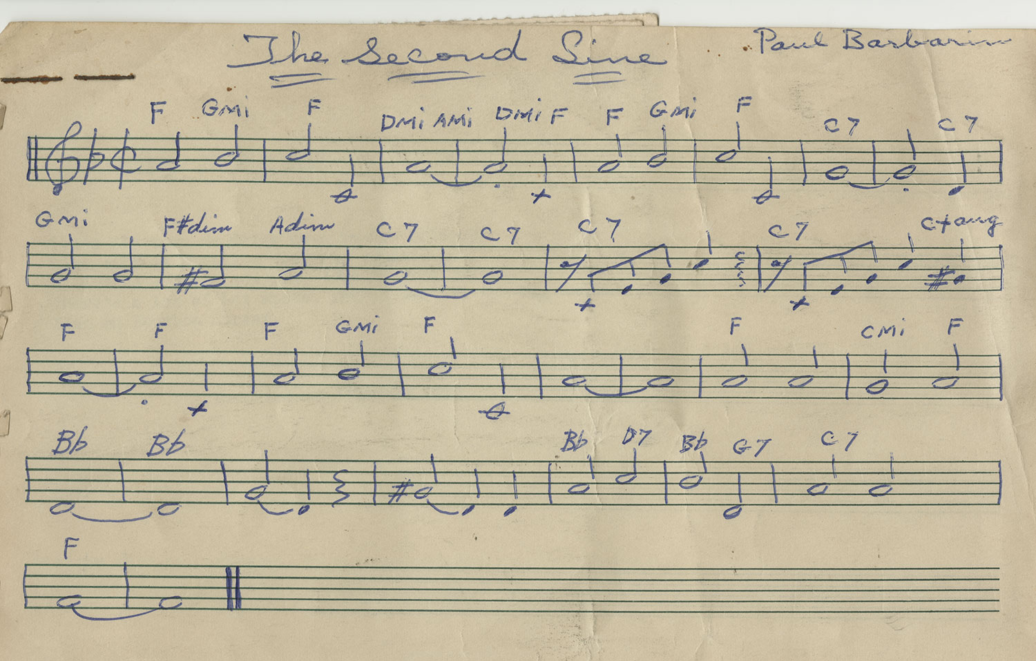 The second line original manuscript