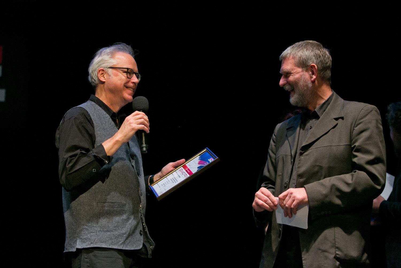 Bill Frisell And Antanas Gustys (director Of Vilnius Jazz)