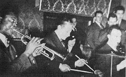 Frank Newton, George Wettling and Mezz Mezzrow at 1937 Jam Session