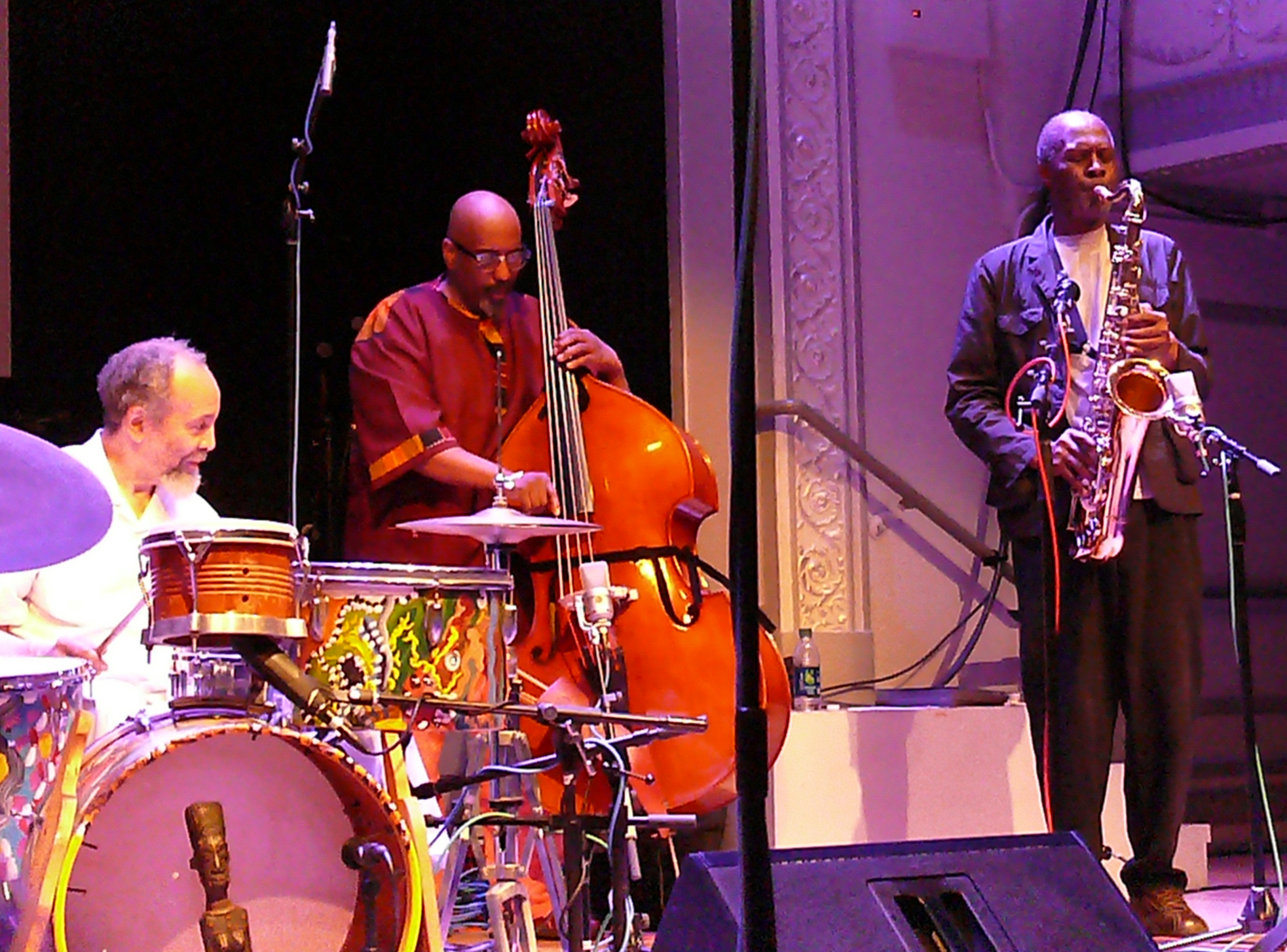 Milford graves, william parker and charles gayle at the vision festival in new york in june 2013