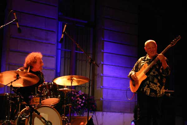 "Andre Ceccarelli and Jean-Marc Jaffet with ""Trio Sud"" at the Cour de L'Hotel de Ville de , Jazz Estival, Geneva, Switzerland, 20"
