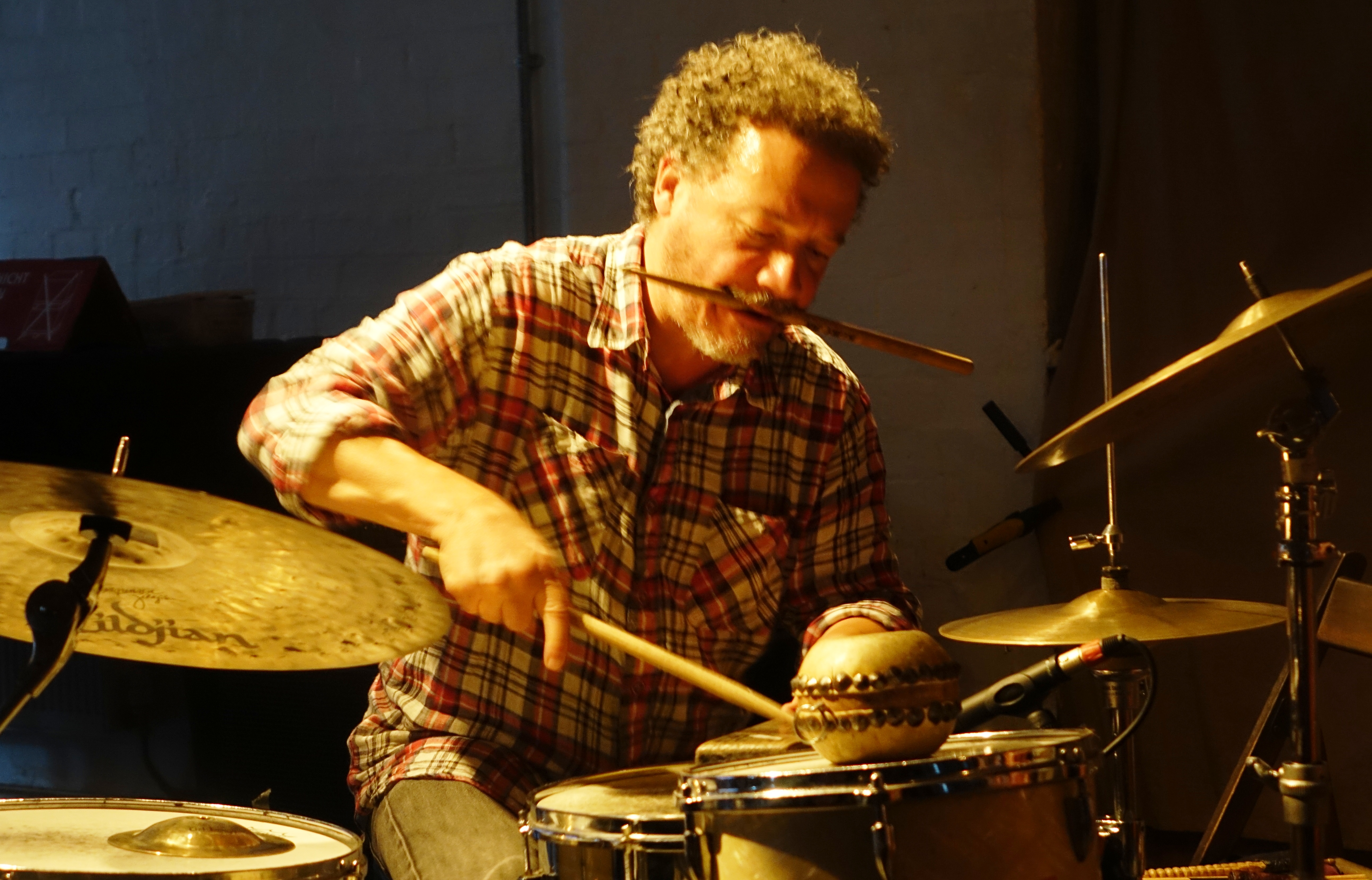 Mark Sanders at Cafe Oto, London in July 2019