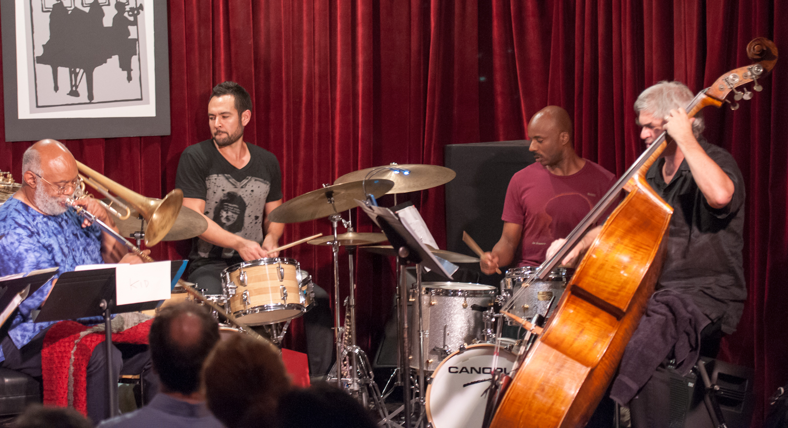 Bill Lowe, Tomas Fujiwara, Chad Taylor and Ken Filiano with the Taylor Ho Bynum Septet at the Jazz Gallery