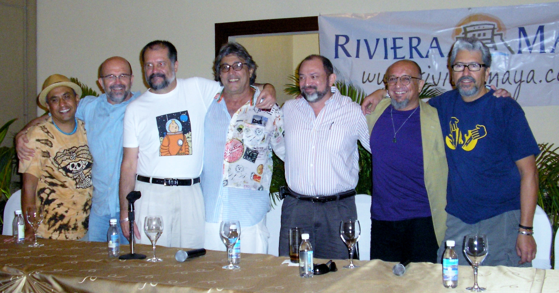 Ivan Lins (Center) with Members of Sacbe and Percussionists Armando Montiel (Far Left) and Luis Conte (Far Right) at the Riviera Maya Jazz Festival's Thursday Press Conference.