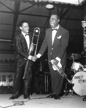 Louis Armstrong & Trummy Young, 1956, Manchester, England.