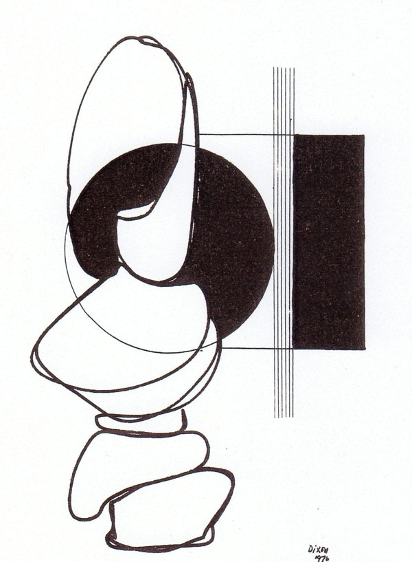 "Bill Dixon Gallery: Black & White Drawing (Ink on Paper) No Title 9 1/2 "" X 12"" Done in Vienna in 1976"