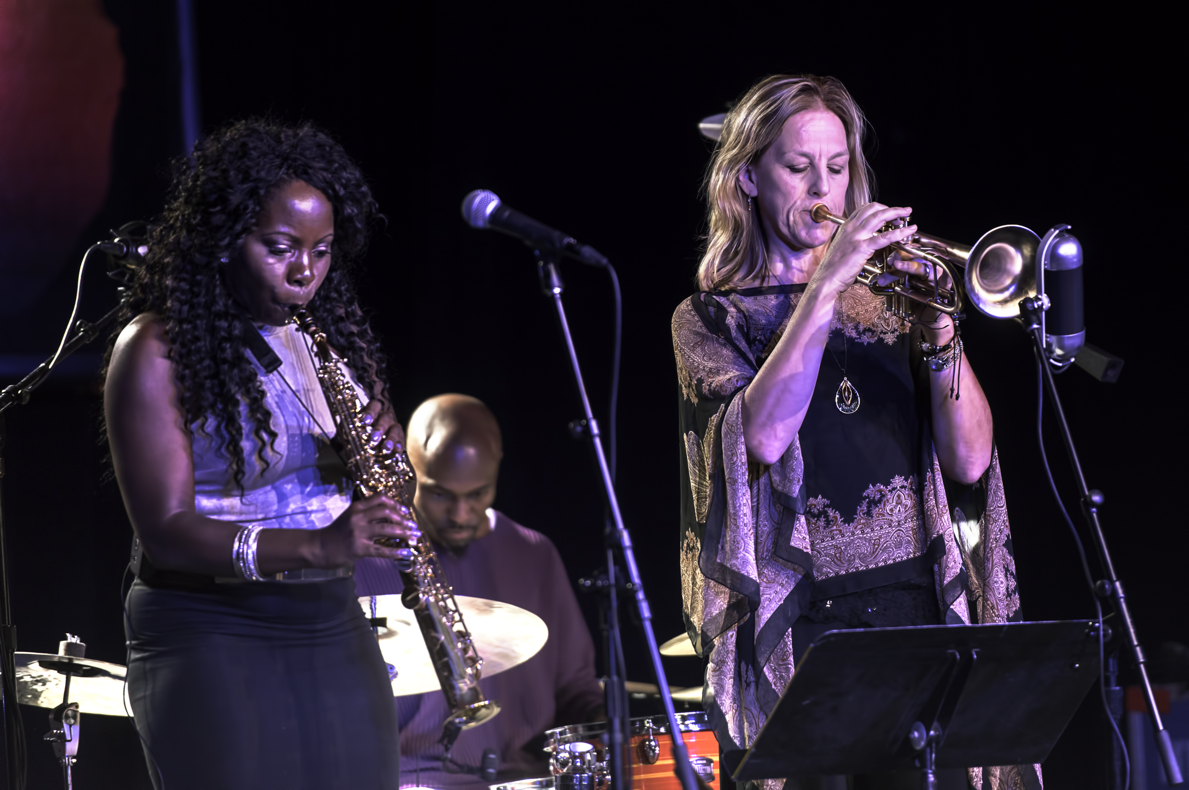 Tia Fuller, Ingrid Jensen and Rudy Royston with the Tia Fuller Quintet at the Monterey Jazz Festival