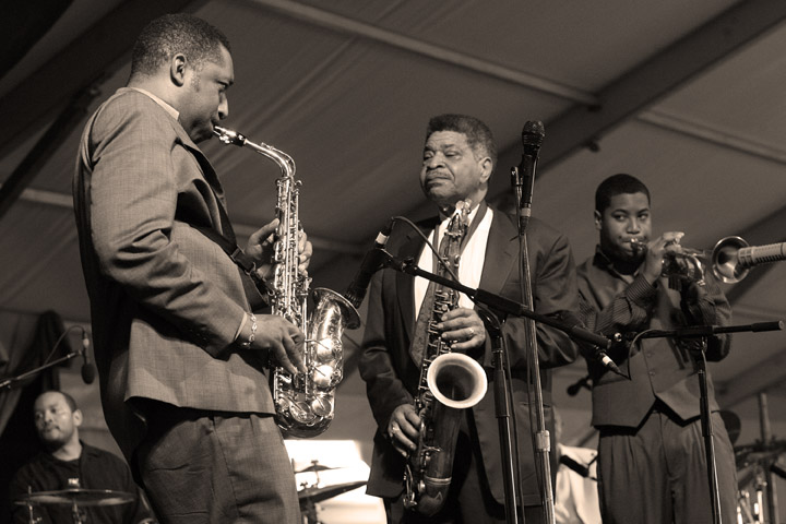 Donald Harrison, George Coleman and Christian Scott at the New Orleans Jazz and Heritage Festival 2006