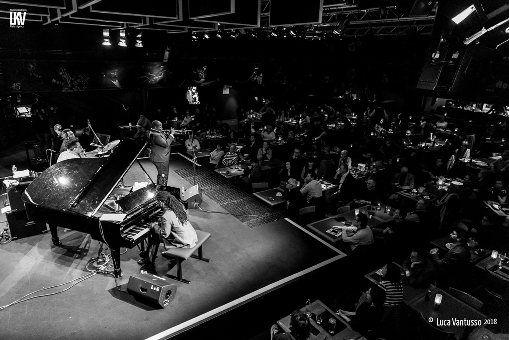 Blue Note Milano 28.10.18  Jeremy Pelt Quartet on stage with Victor Gould on piano, Rashaan Carter on bass and Allan Mednard on drums.  © Luca Vantusso for LKV Photo Agency