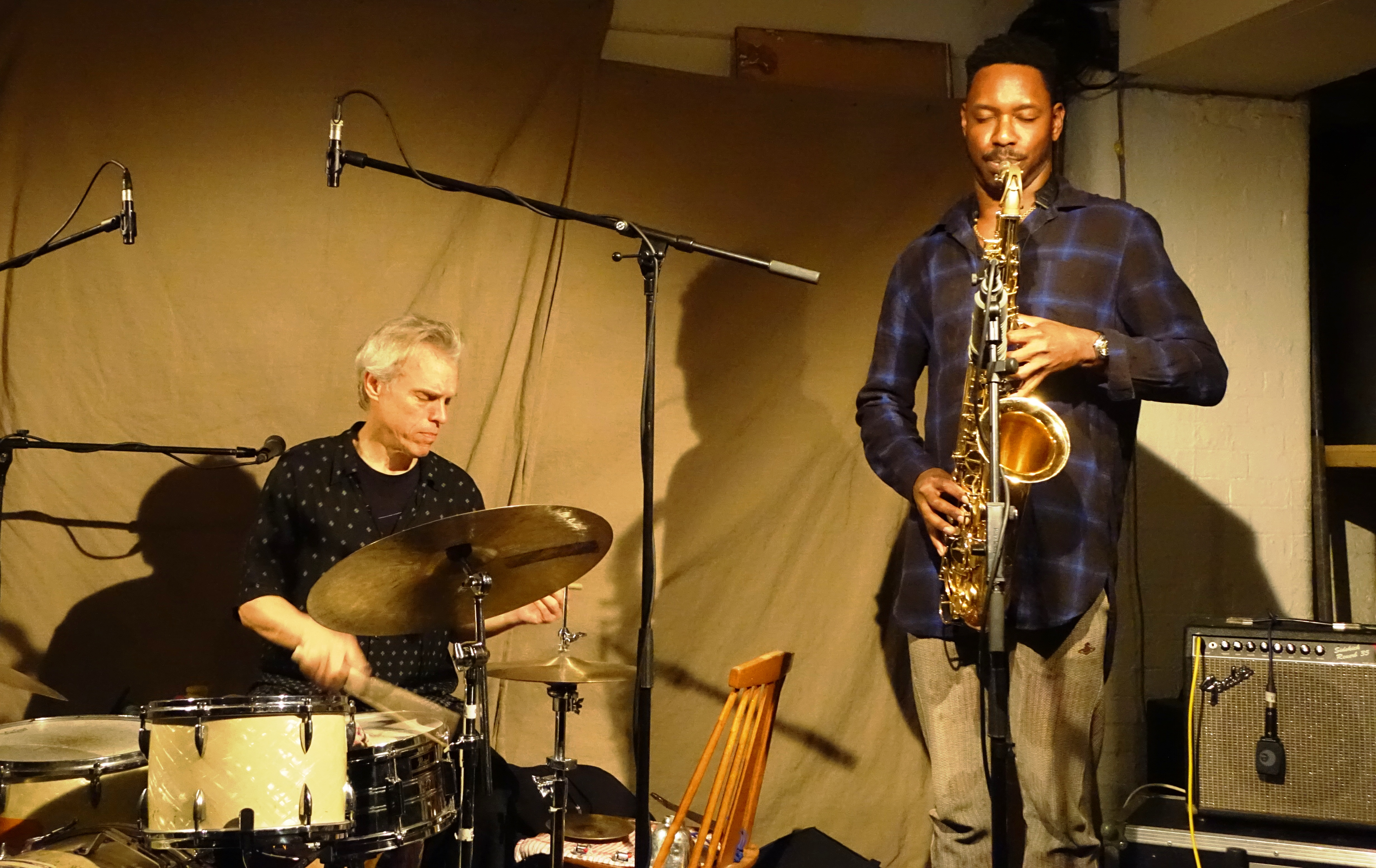 Gerry Hemingway and Shabaka Hutchings at Cafe Oto, London in April 2018