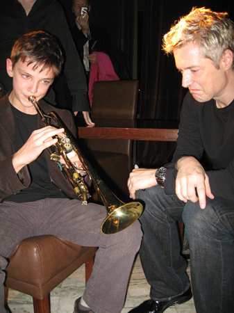 Chris Botti with Young, Polish Friend and Fellow Trumpeter, Simon