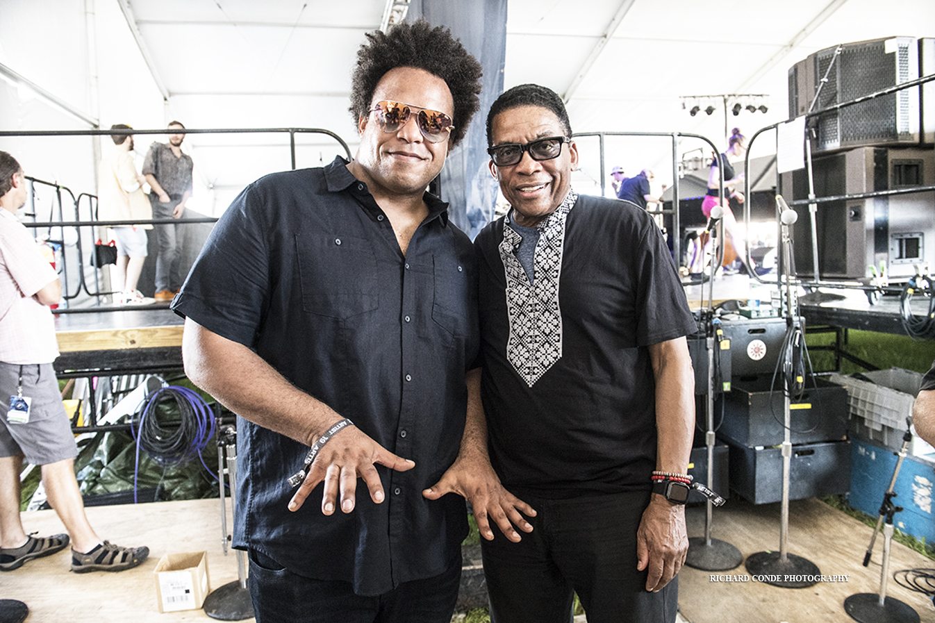 Eric Lewis and Herbie Hancock at the 2019 Newport Jazz Festival