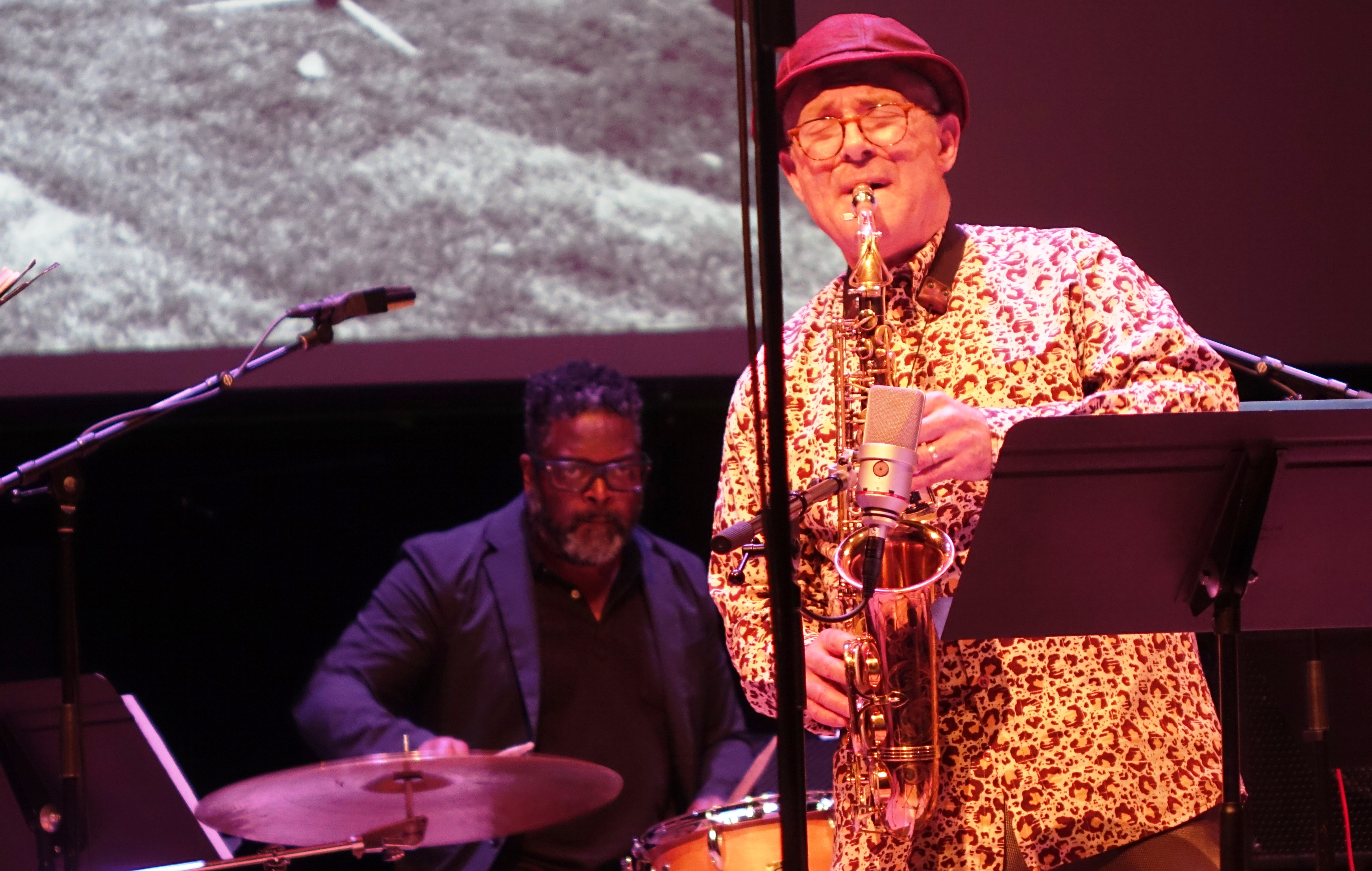 Gerald Cleaver and Bobby Zankel at the Vision Festival in Roulette, Brooklyn in June 2019
