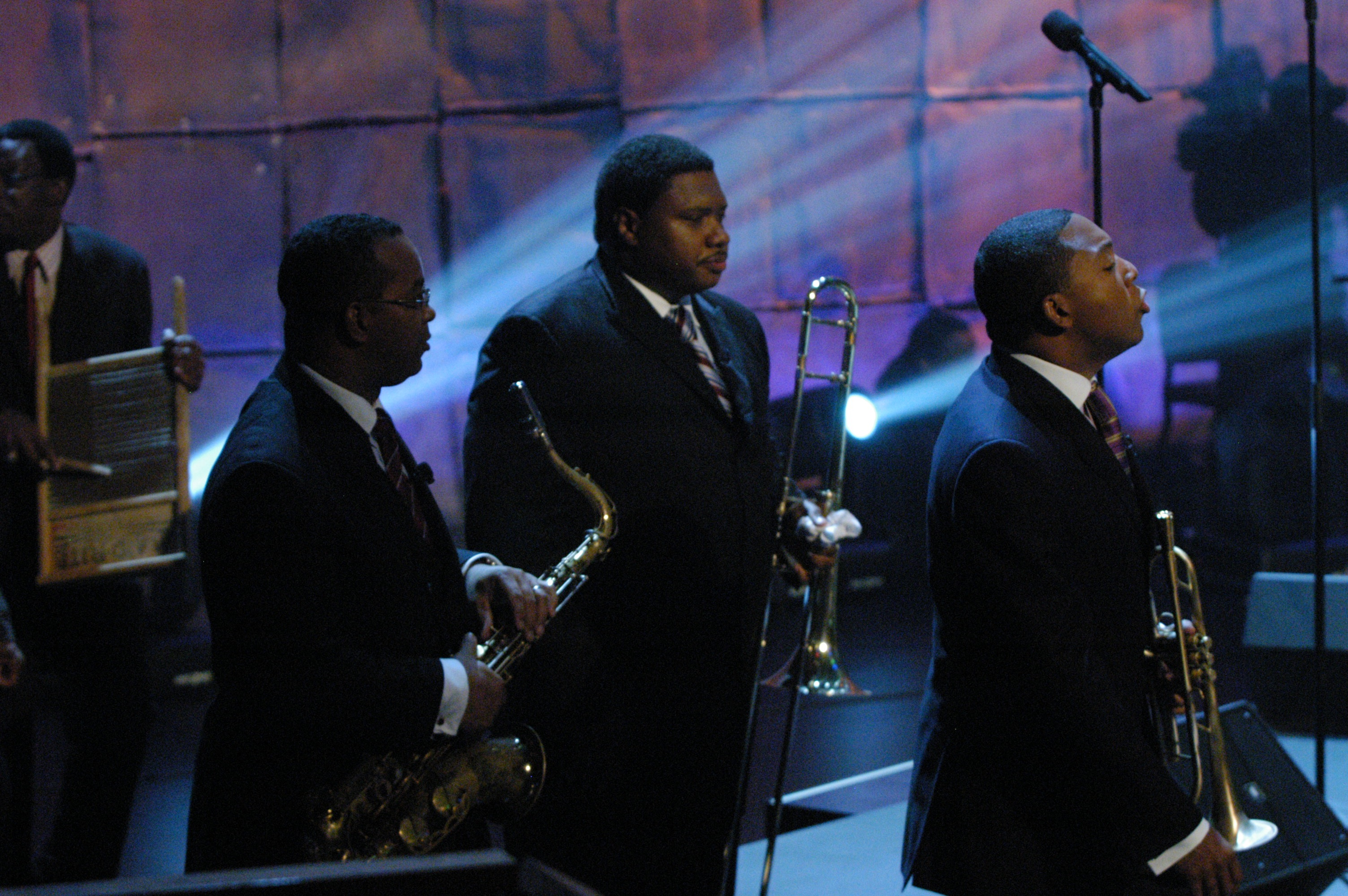 Wynton Marsalis with Victor Goines and Wycliffe Gordon at Higher Ground Benefit Concert
