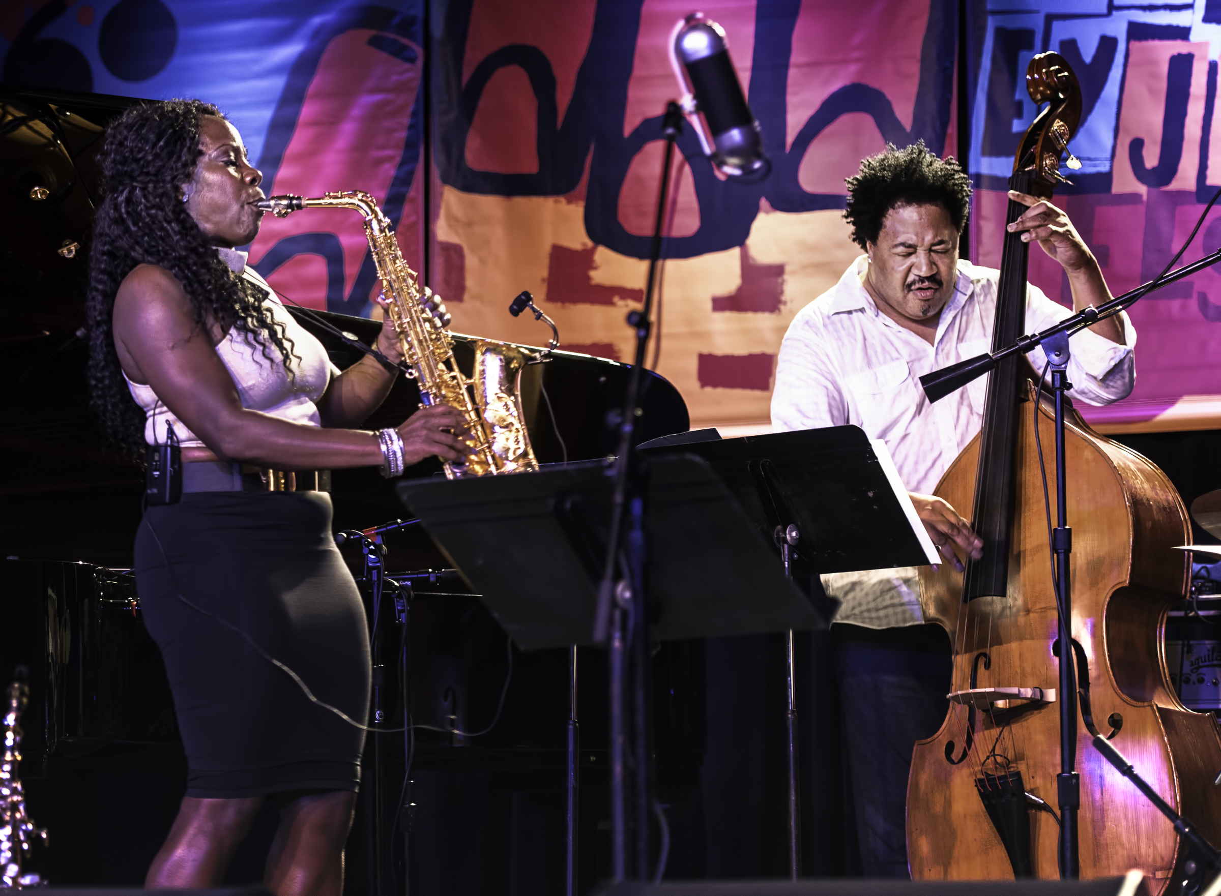 Tia Fuller and James Genus with the Tia Fuller Quintet at the Monterey Jazz Festival
