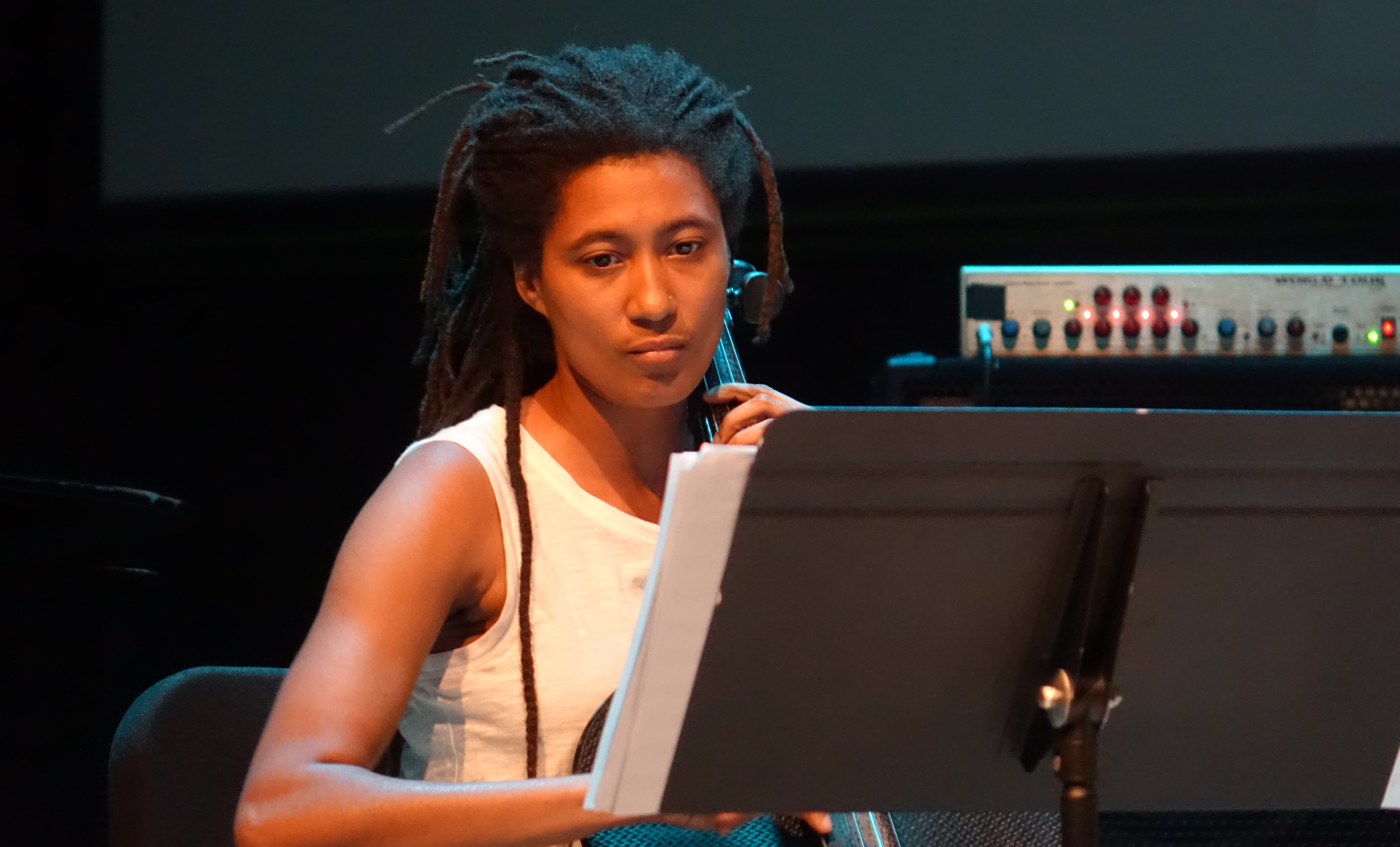 Tomeka Reid at the Vision Festival in Roulette, Brooklyn in June 2019