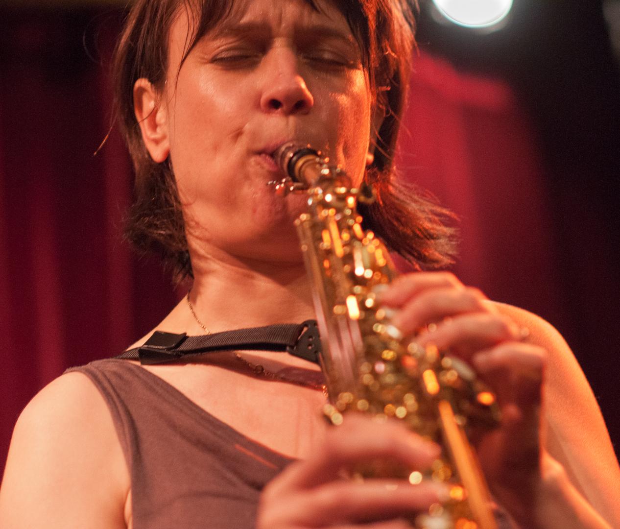Ingrid Laubrock with the Tom Rainey Trio at the Cornelia Street Cafe