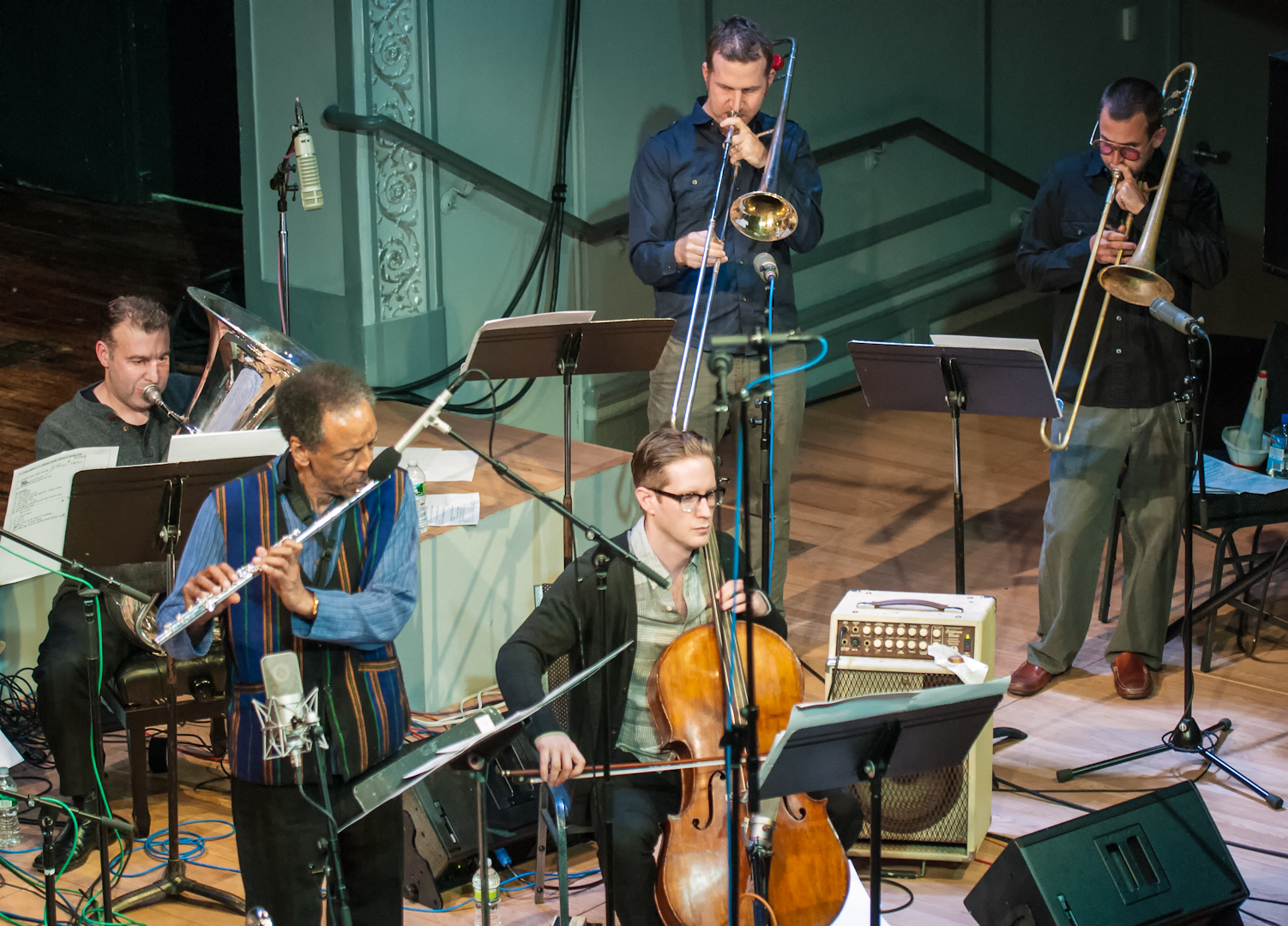 Jose Davila, Henry Threadgill, Christopher Hoffman, Jacob Garchik and Ben Gerstein with Zooid at Roulette