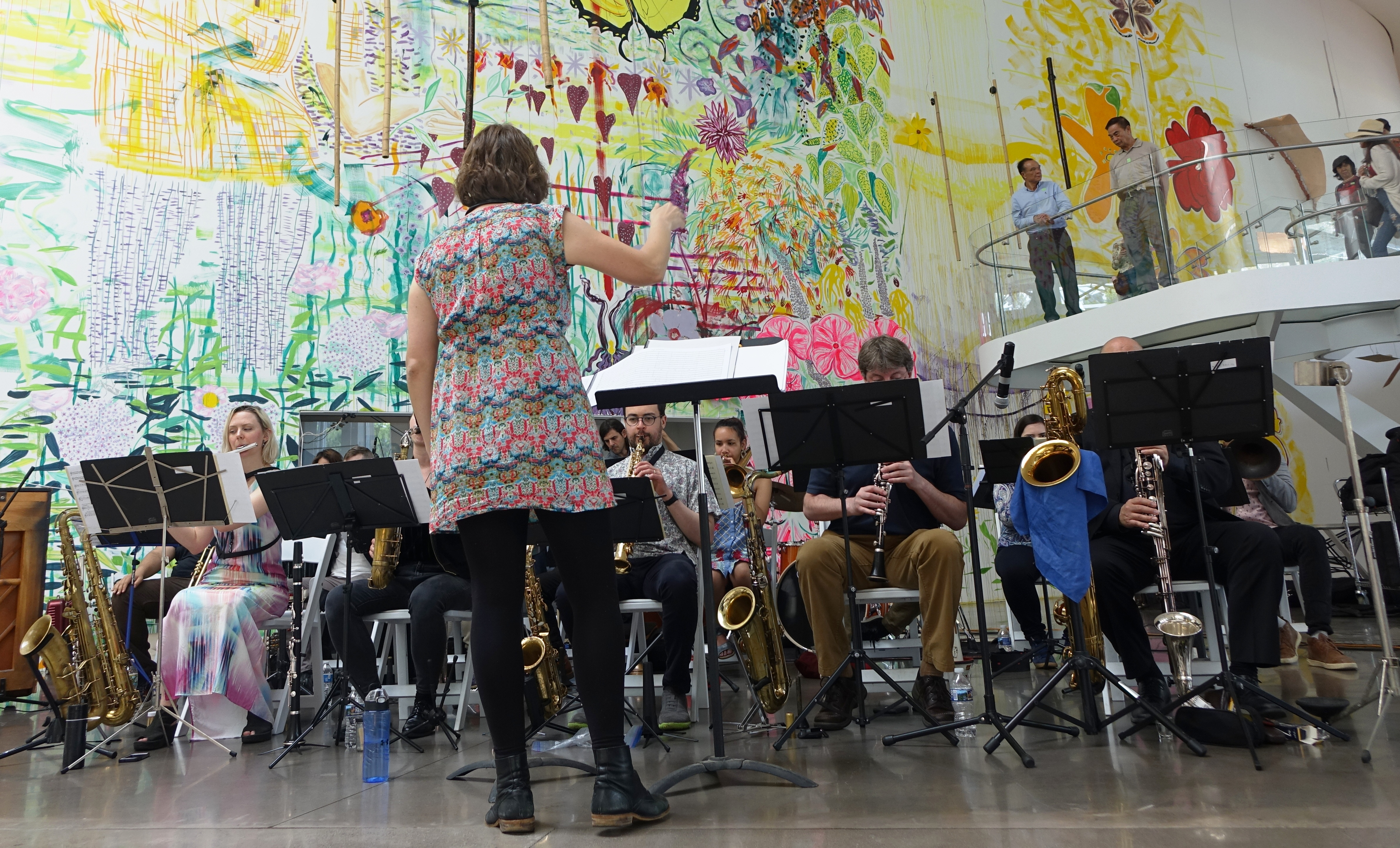 Anna Webber conducting the Webber/Morris Big Band at the Queens Museum, Queens in June 2019