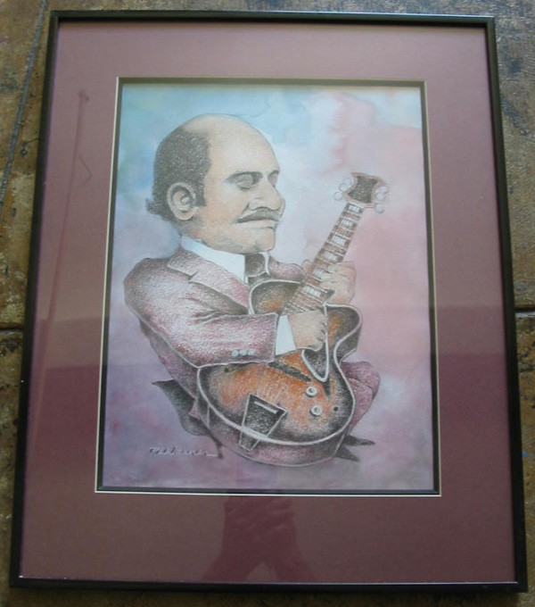 "Joe Pass, 12x16"", Watercolor/Charcoal, Framed, $300"
