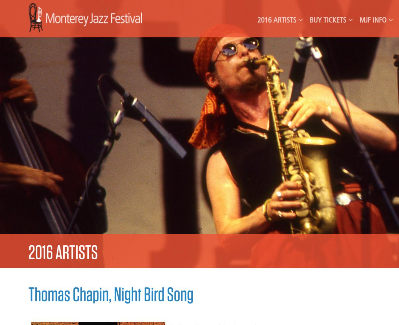 Thomas Chapin, Monterey Jazz Festival