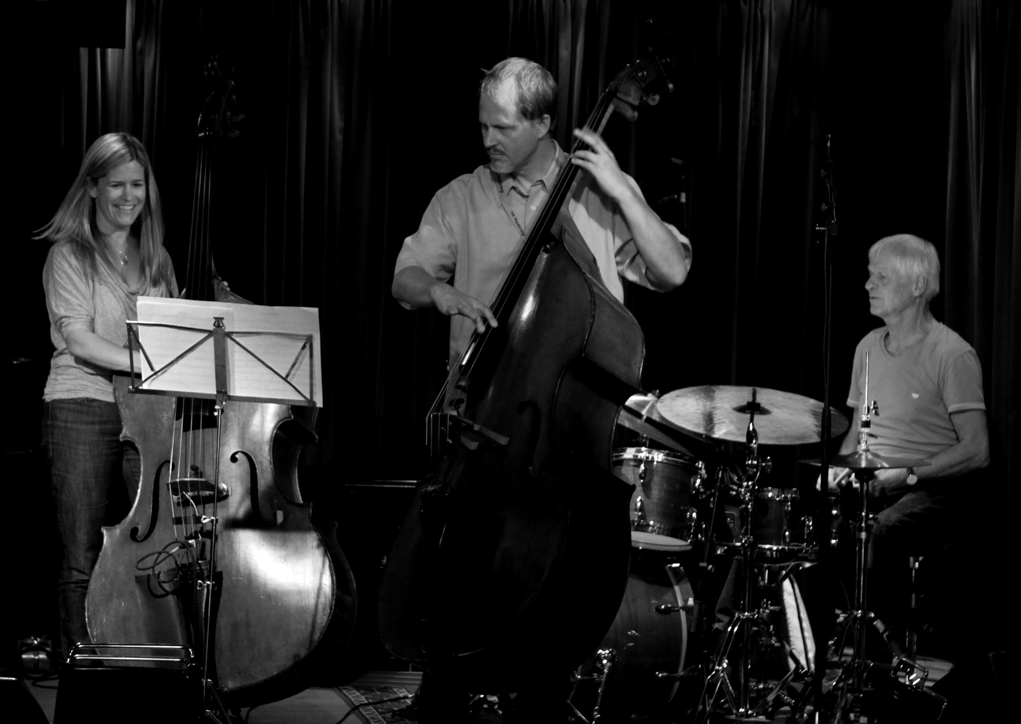 Kristin Korb (Bass) Hans Sturm (Bass) Alex Riel (Drums) on Jazzhus Montmartre, Copenhagen, Denmark