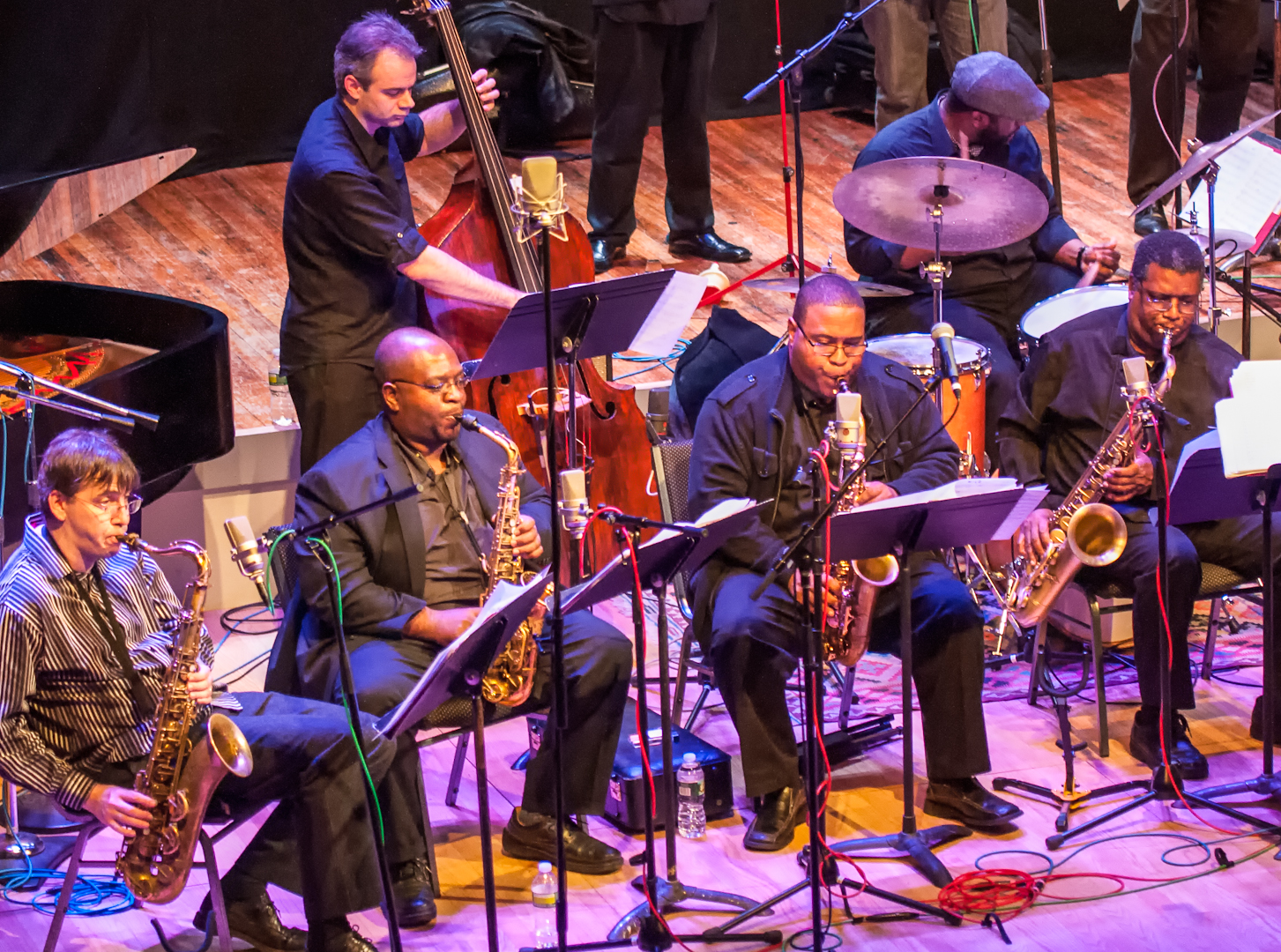 Mike Lee, Darius Jones, Bruce Williams, Jason Steward, Robert Sabin (Bass) and Chris Beck (Drums) with the Oliver Lake Big Band at Roulette