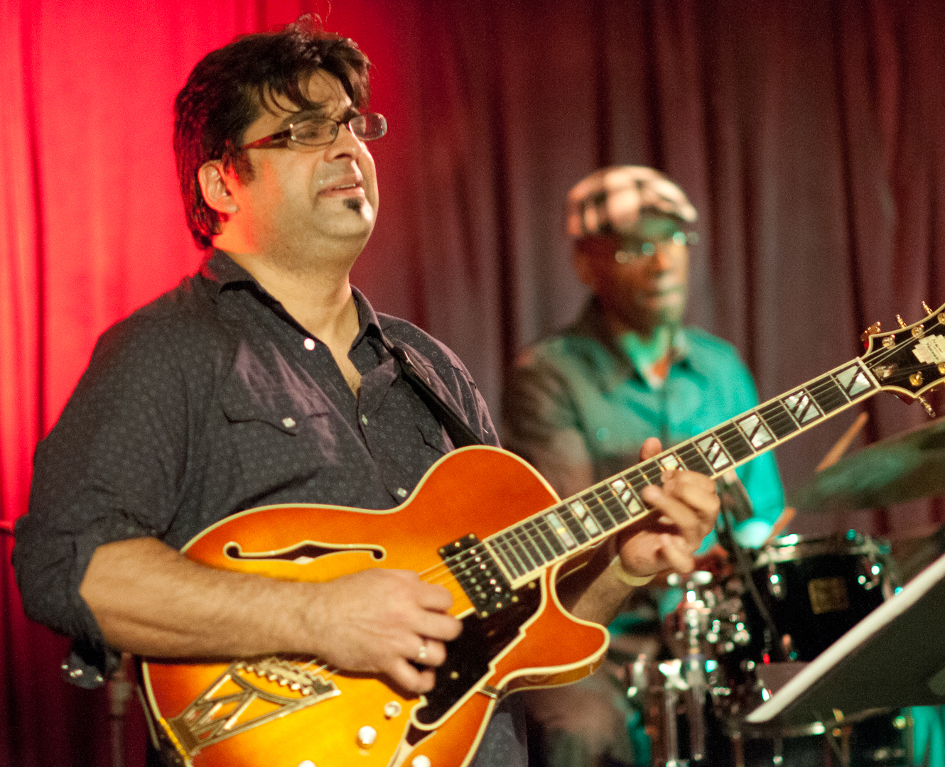 Rez Abbasi and Rudy Royston with the Rudresh Mahanthappa Quartet at the Winter Jazzfest 2012