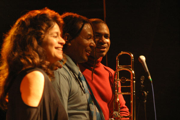 "Michele Rosewoman, Kenwood Dennard and Robin Eubanks with ""Robin Eubanks - Eb3"" at Amr, Sud Des Alpes, Geneva, Switzerland, 2005"