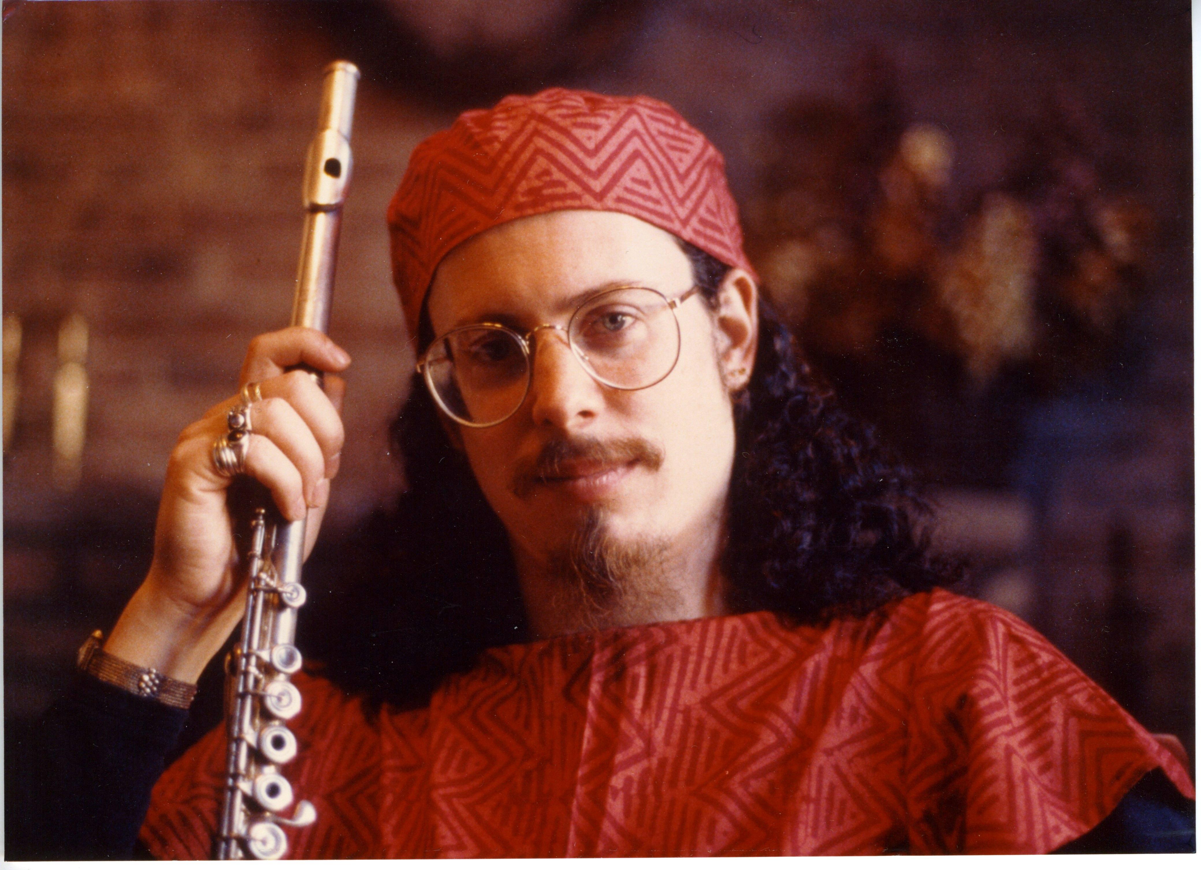 Red batik and flute