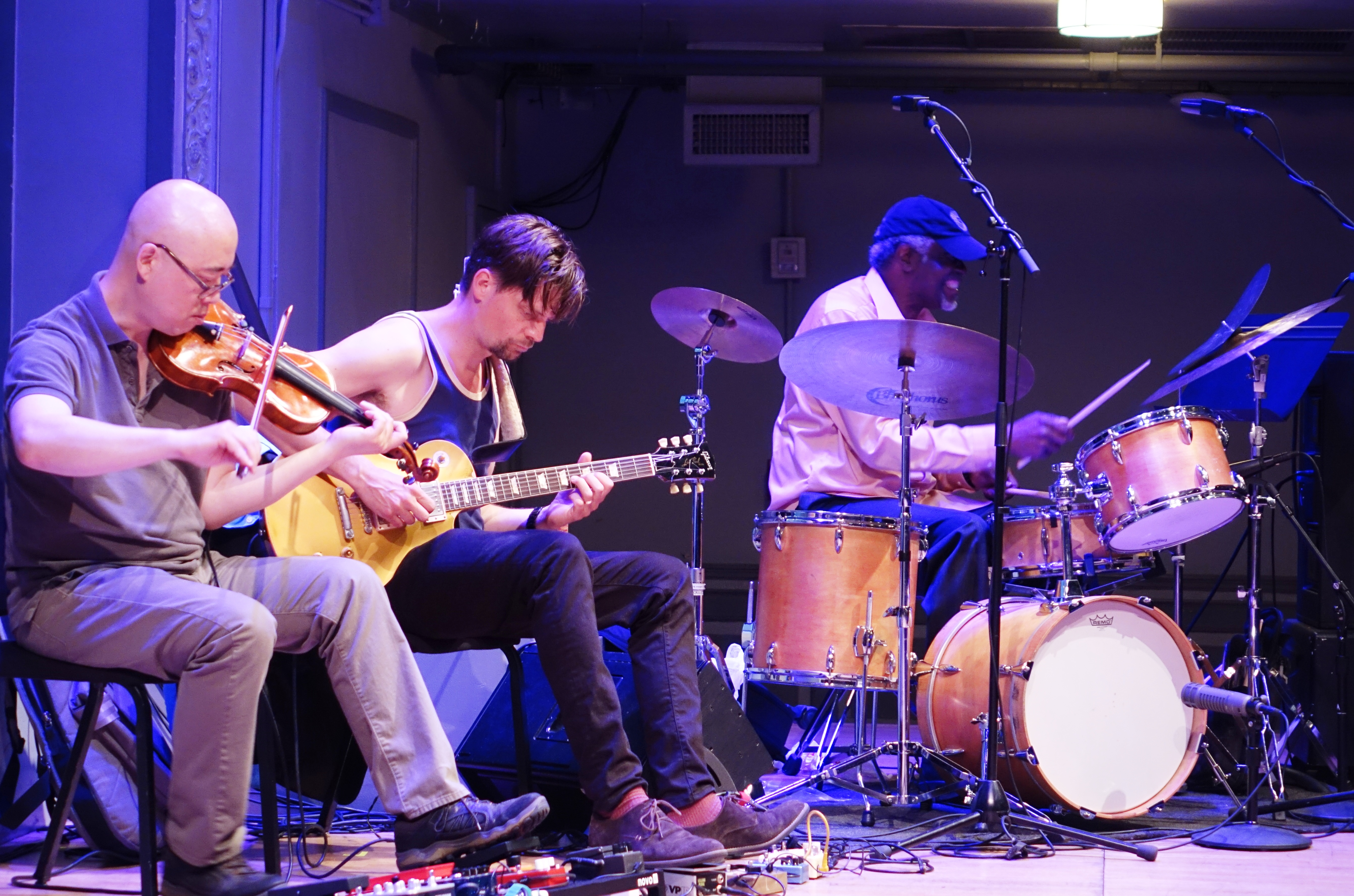 Jason Kao Hwang, Anders Nilsson and Michael TA Thompson at the Vision Festival at Roulette, Brooklyn in May 2018