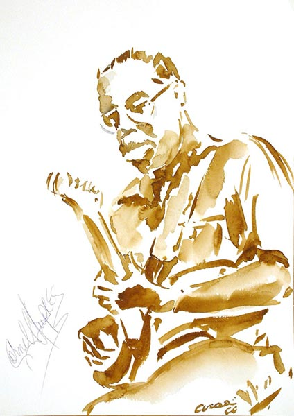 Cornell Dupree 36x50 - Watercolor on Paper 300 GR/MQ - Live at the Concert at the Estival Jazz Jul 2004