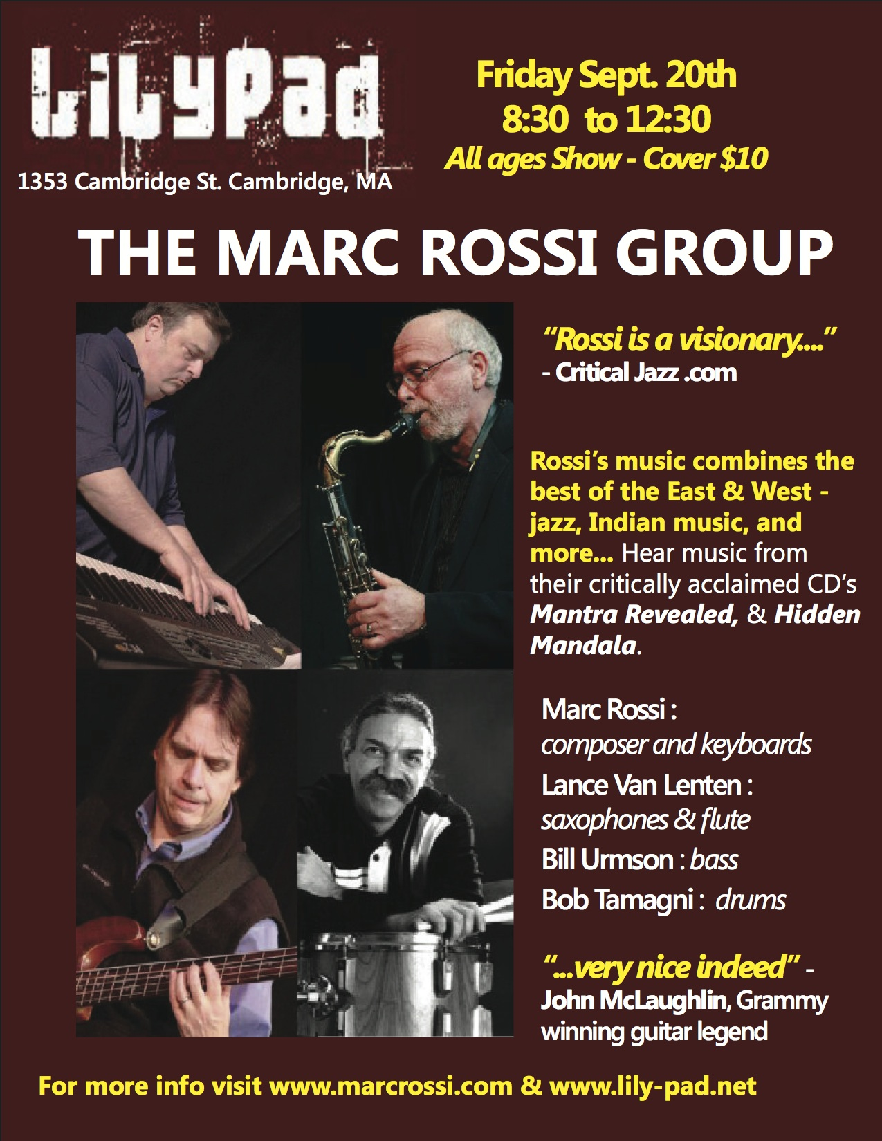 The marc rossi group live at the lilypad