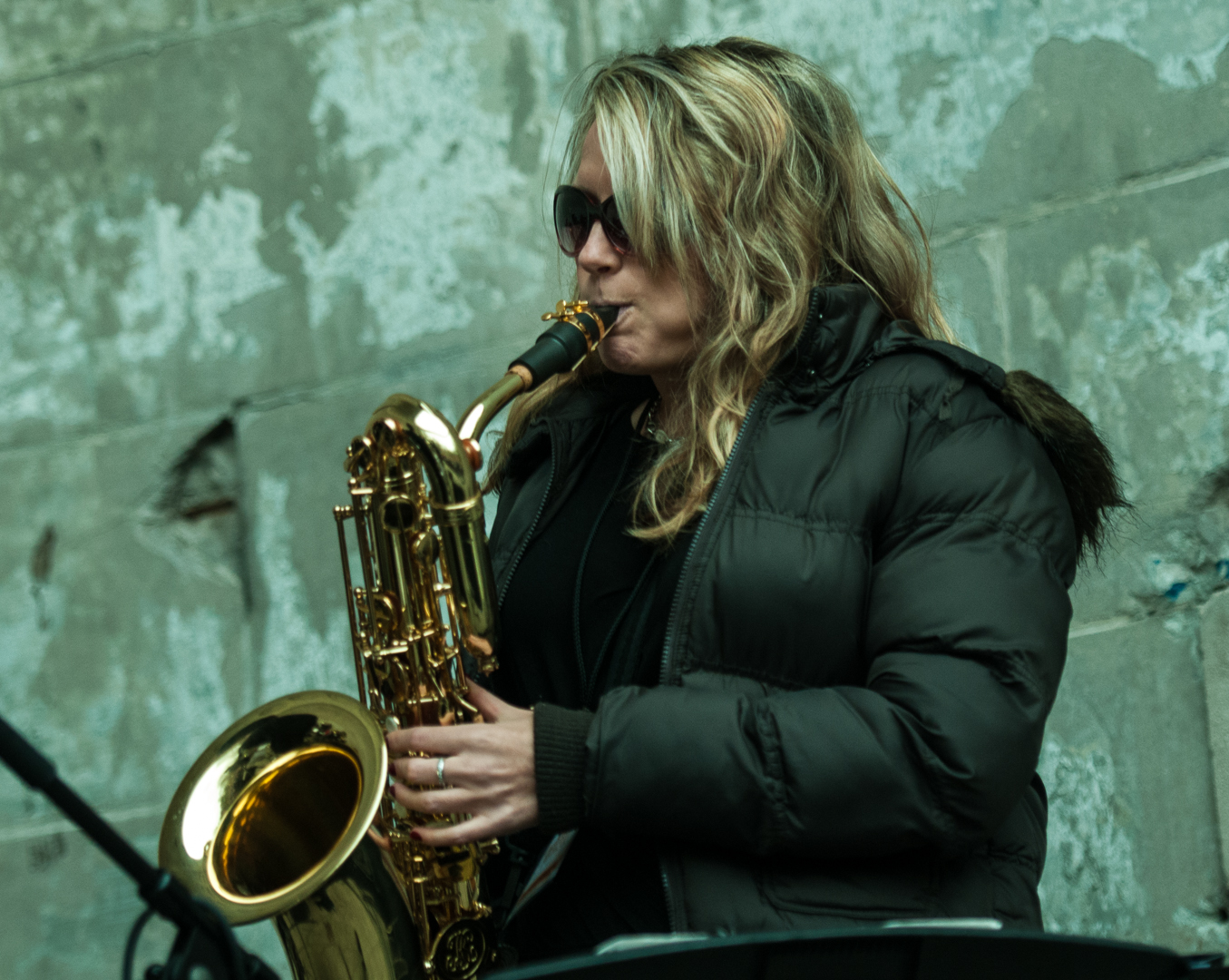 Lauren Sevian with the Mingus Big Band at Jazz and Colors in Central Park