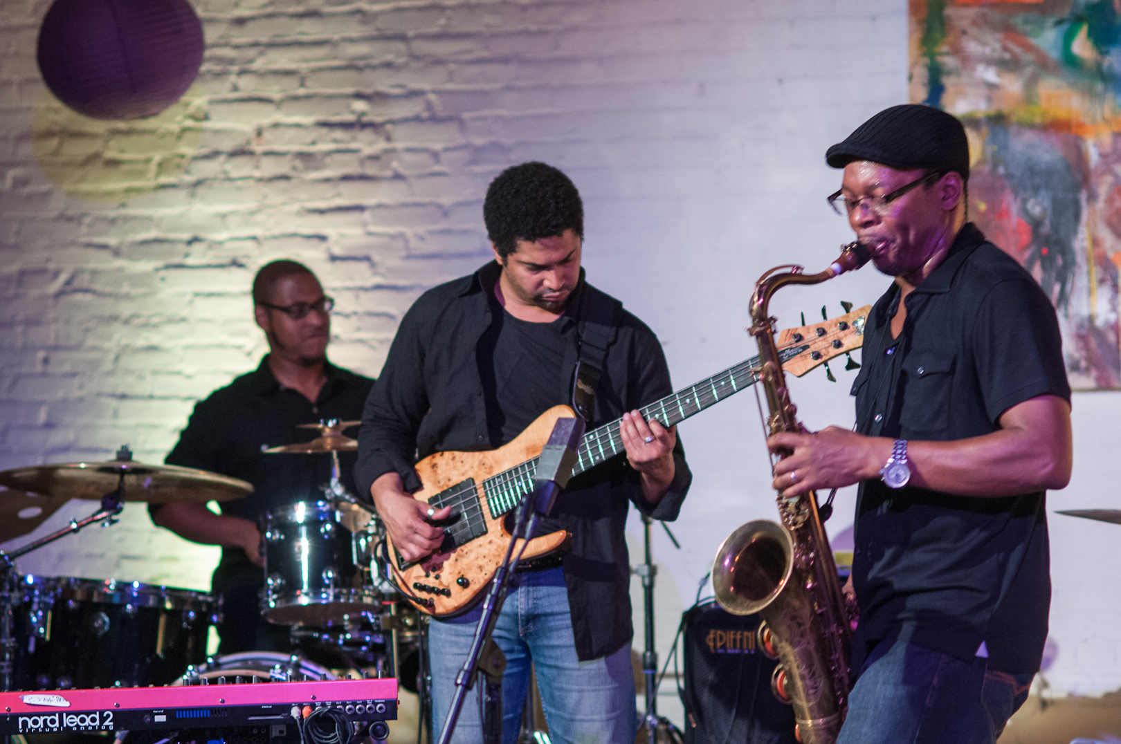 "Alex ""Bisqit"" Bailey, Matt Garrison and Ravi Coltrane at Shapeshifter Lab"