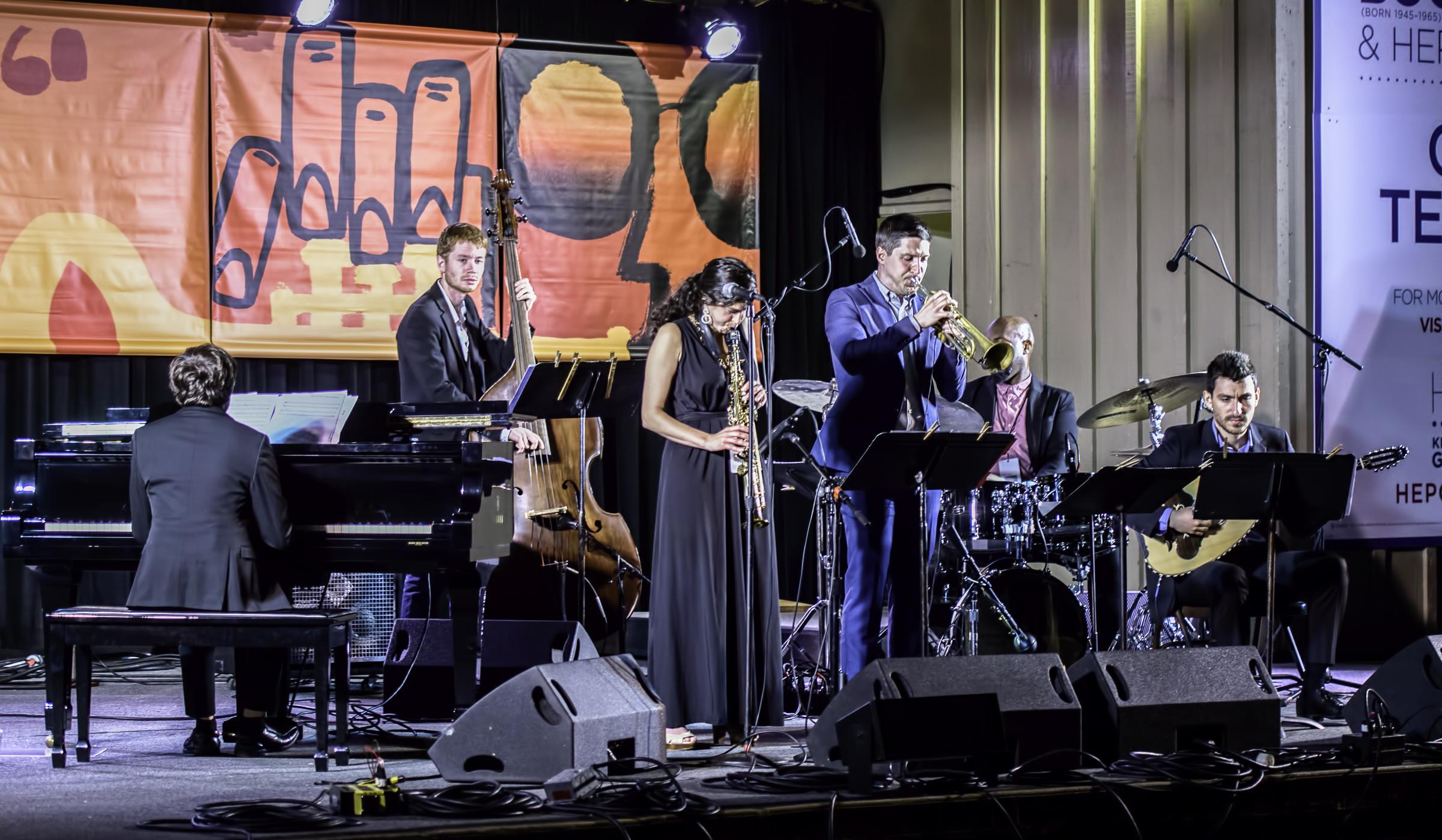 Chase Morrin, Jared Henderson Lihi Haruvi, Andrew McAnsh, Nathaniel Winn and Vasilis Kostas with the Berklee Global Jazz Ambassadors at the Monterey Jazz Festival