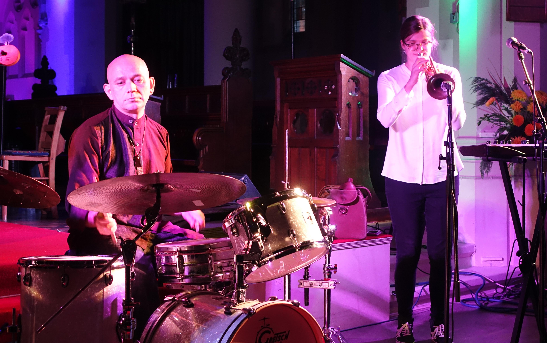Seb Rochford and Laura Jurd at Brighton Alternative Jazz Festival in October 2018