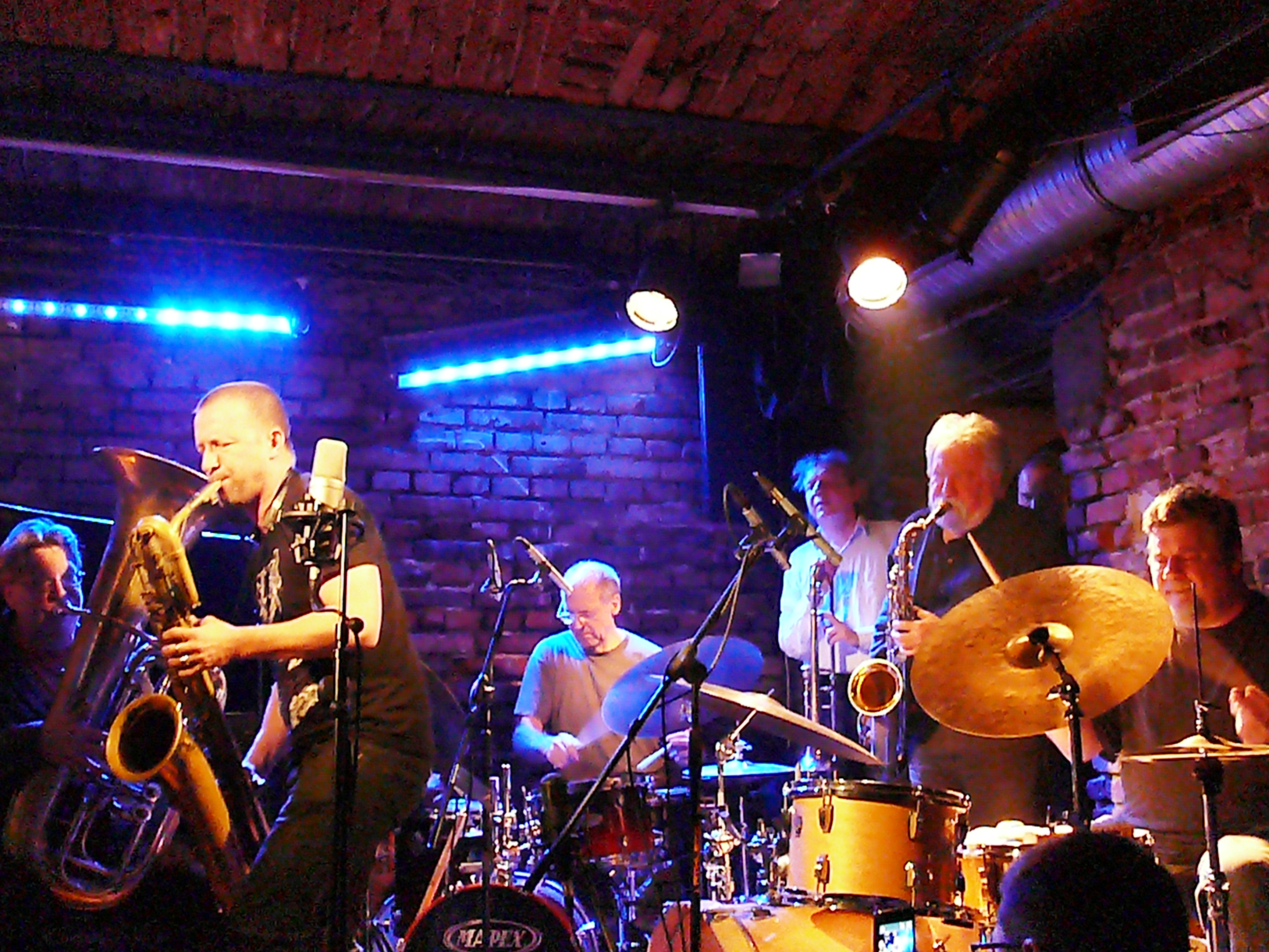 Mats Gustafsson, Paul Lytton, Johannes Bauer, Evan Parker and Raymond Strid at Alchemia, Krakow in November 2012
