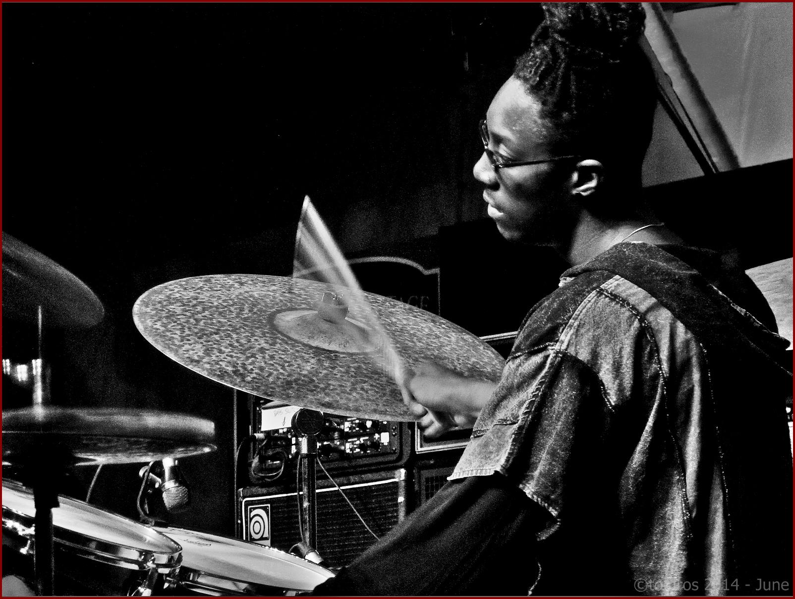 Stanley Clarke trio (Mike Mitchell) at Toronto Jazz Festival, June 26, 2014.